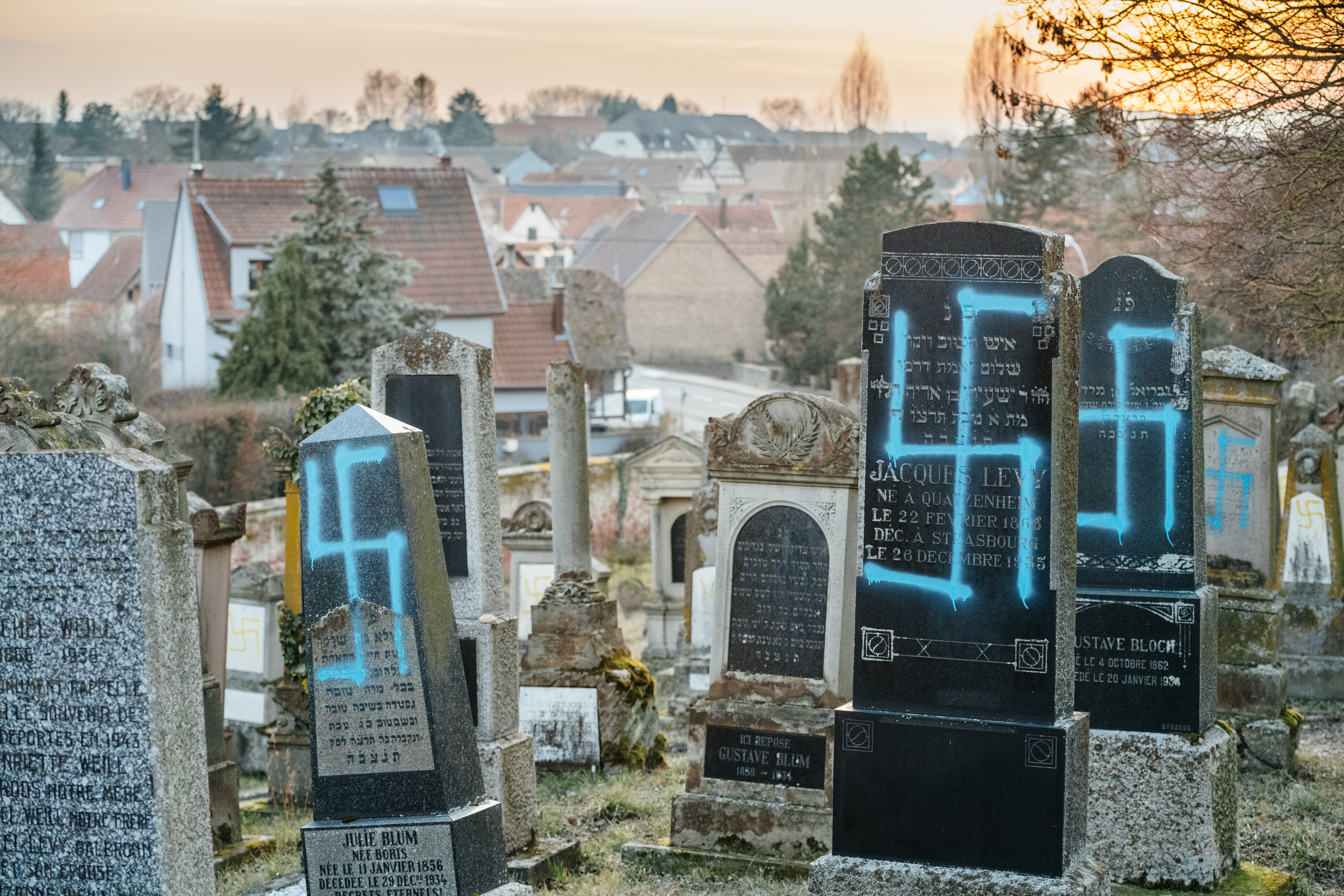 Incidents of antisemitic vandalism like this one in France have many concerned with negative perceptions of Jewish people in Europe. (Shutterstock/Hadrian)
