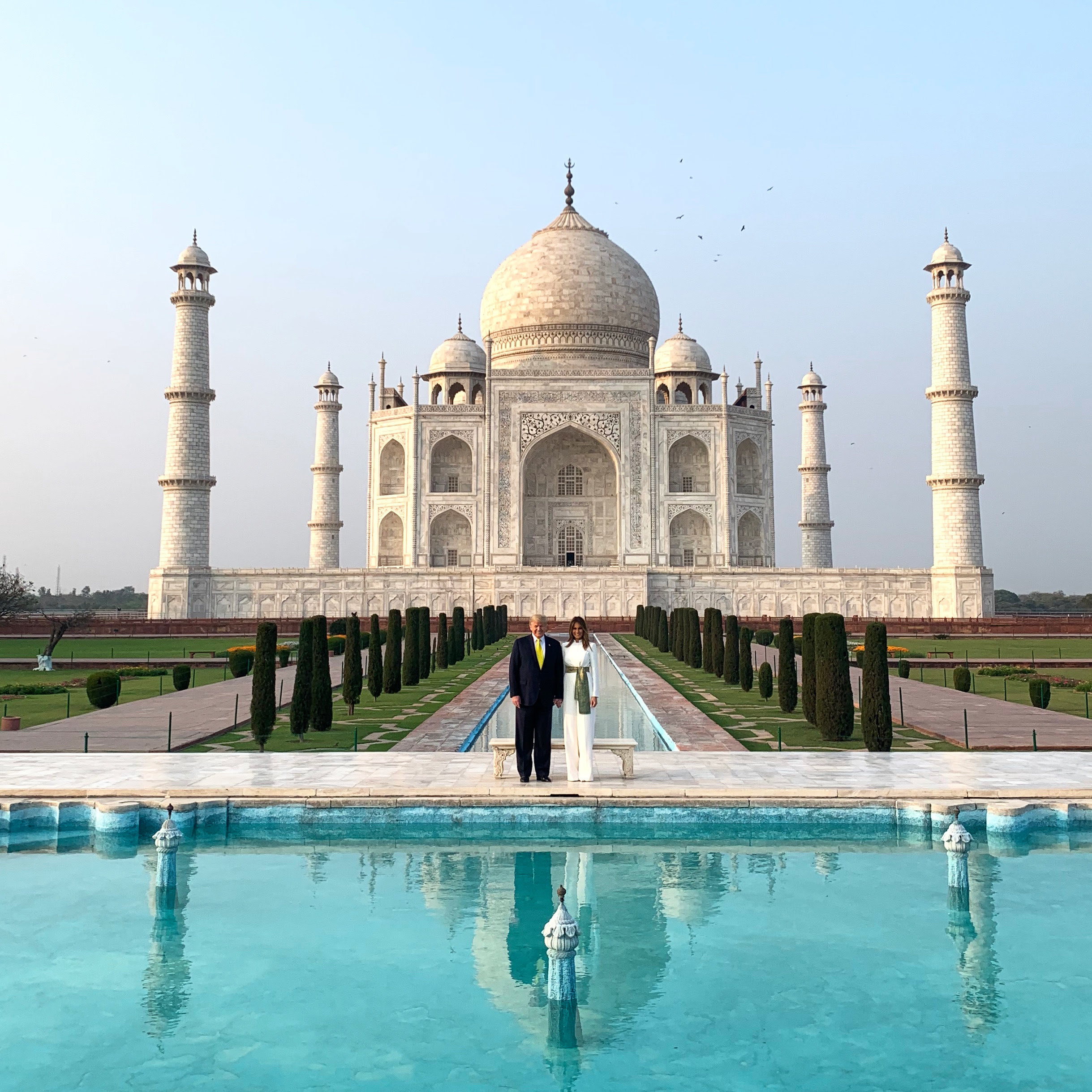 President Trump and wife Melania Trump posed for pictures in front of India's Taj Mahal February 24, 2020. (White House Press Pool)