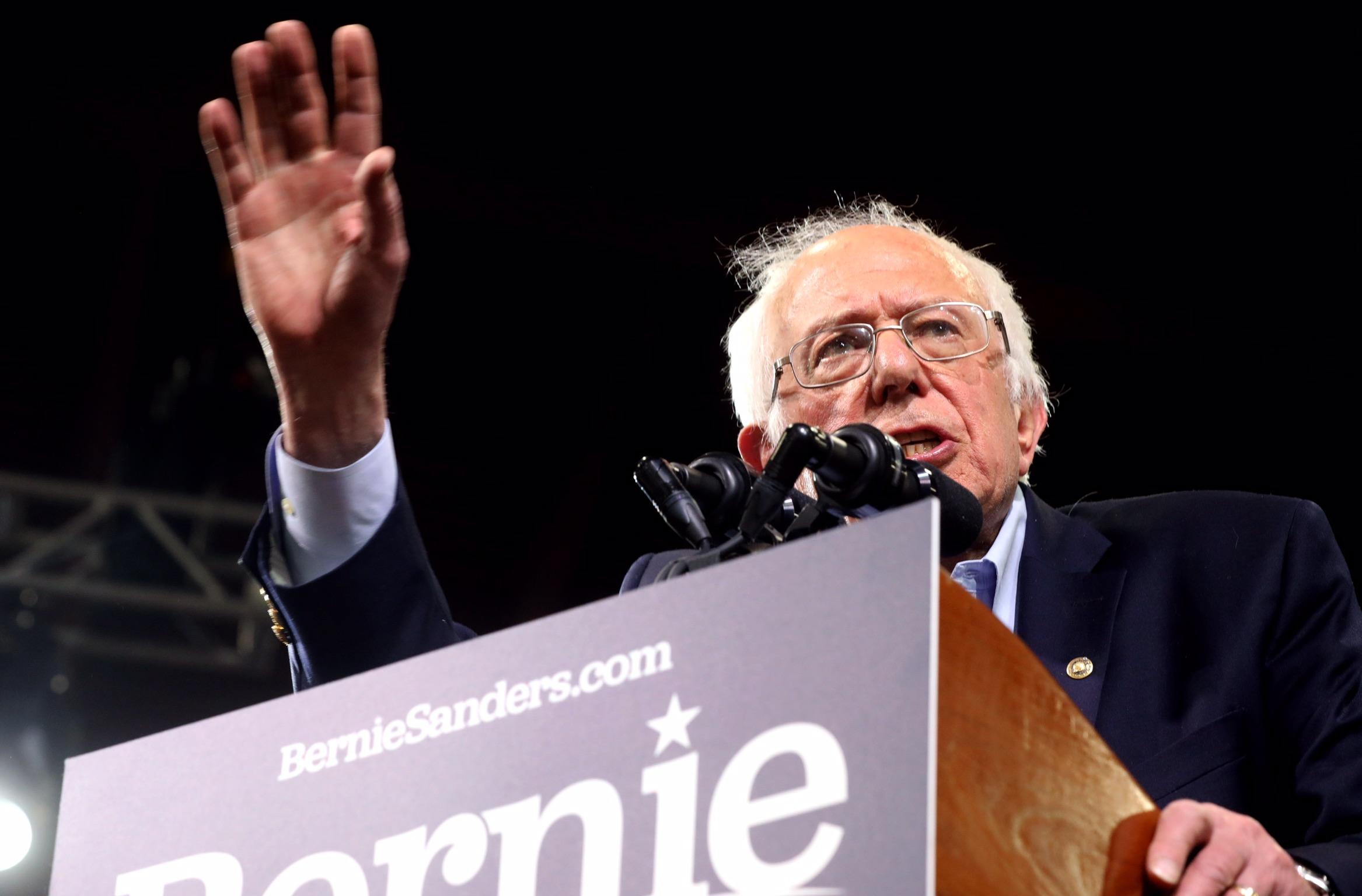 Democratic U.S. presidential candidate Senator Bernie Sanders speaks at his Super Tuesday rally in Essex Junction, Vermont, U.S., March 3, 2020. REUTERS/Jonathan Ernst