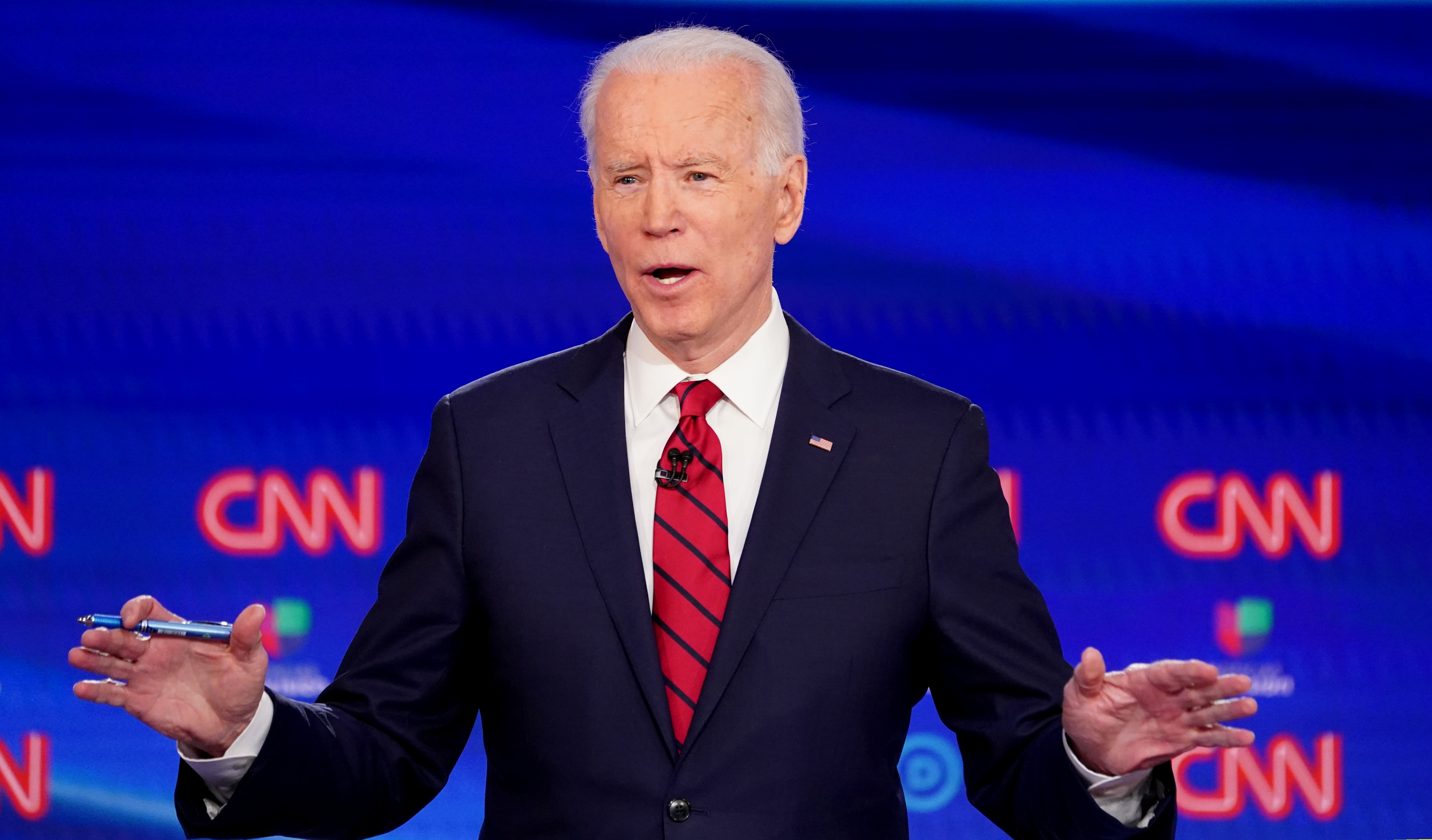 Democratic U.S. presidential candidate and former Vice President Joe Biden speaks during the 11th Democratic candidates debate of the 2020 U.S. presidential campaign, held in CNN's Washington studios without an audience because of the global coronavirus pandemic, in Washington, U.S., March 15, 2020. REUTERS/Kevin Lamarque