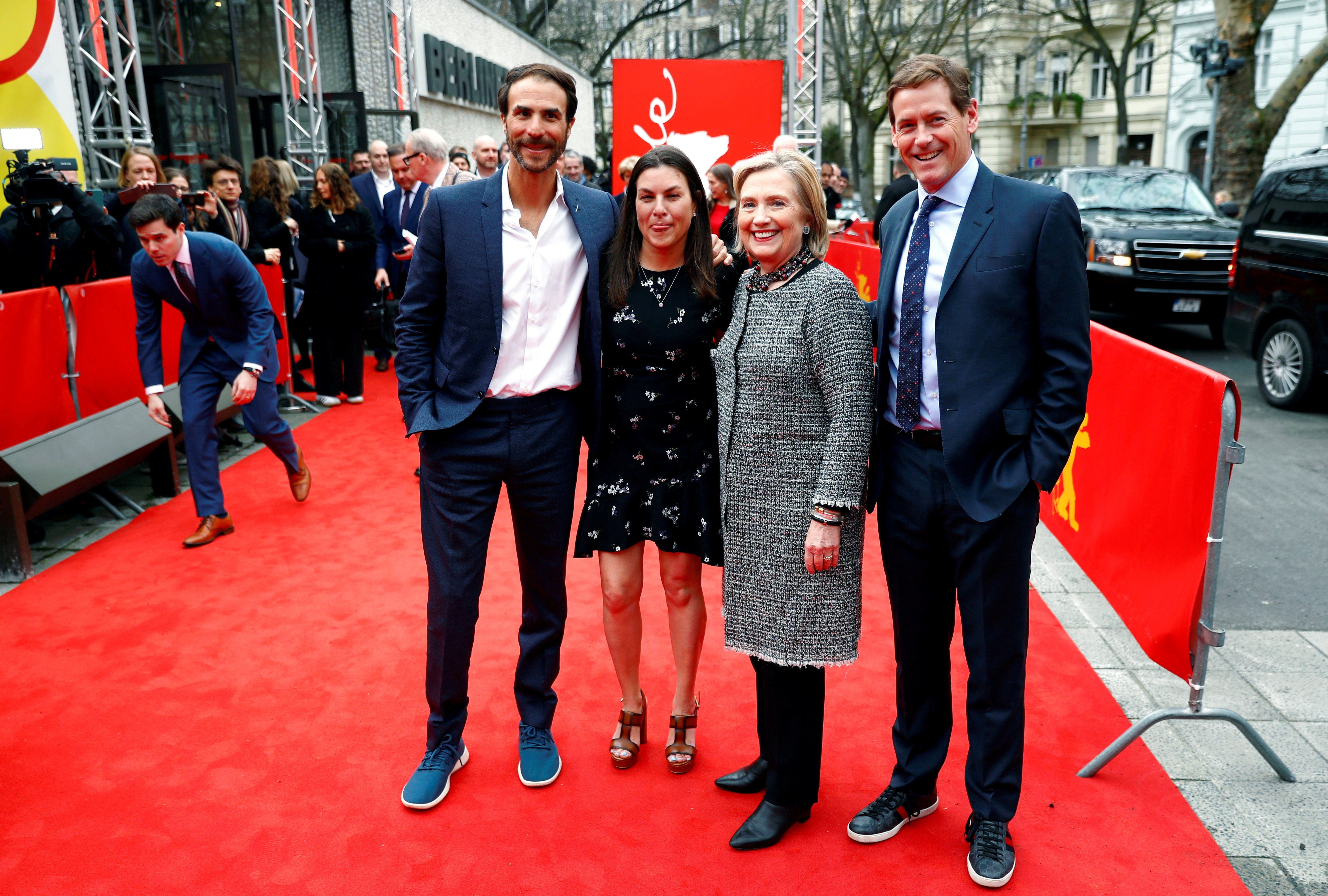 Director Nanette Burstein, Former U.S. Secretary of State Hillary Clinton and executive producers Ben Silverman and Howard Owens arrive for the screening of the movie ''Hillary'' during the 70th Berlinale International Film Festival in Berlin, Germany, Feb. 24, 2020. REUTERS/Fabrizio Bensch