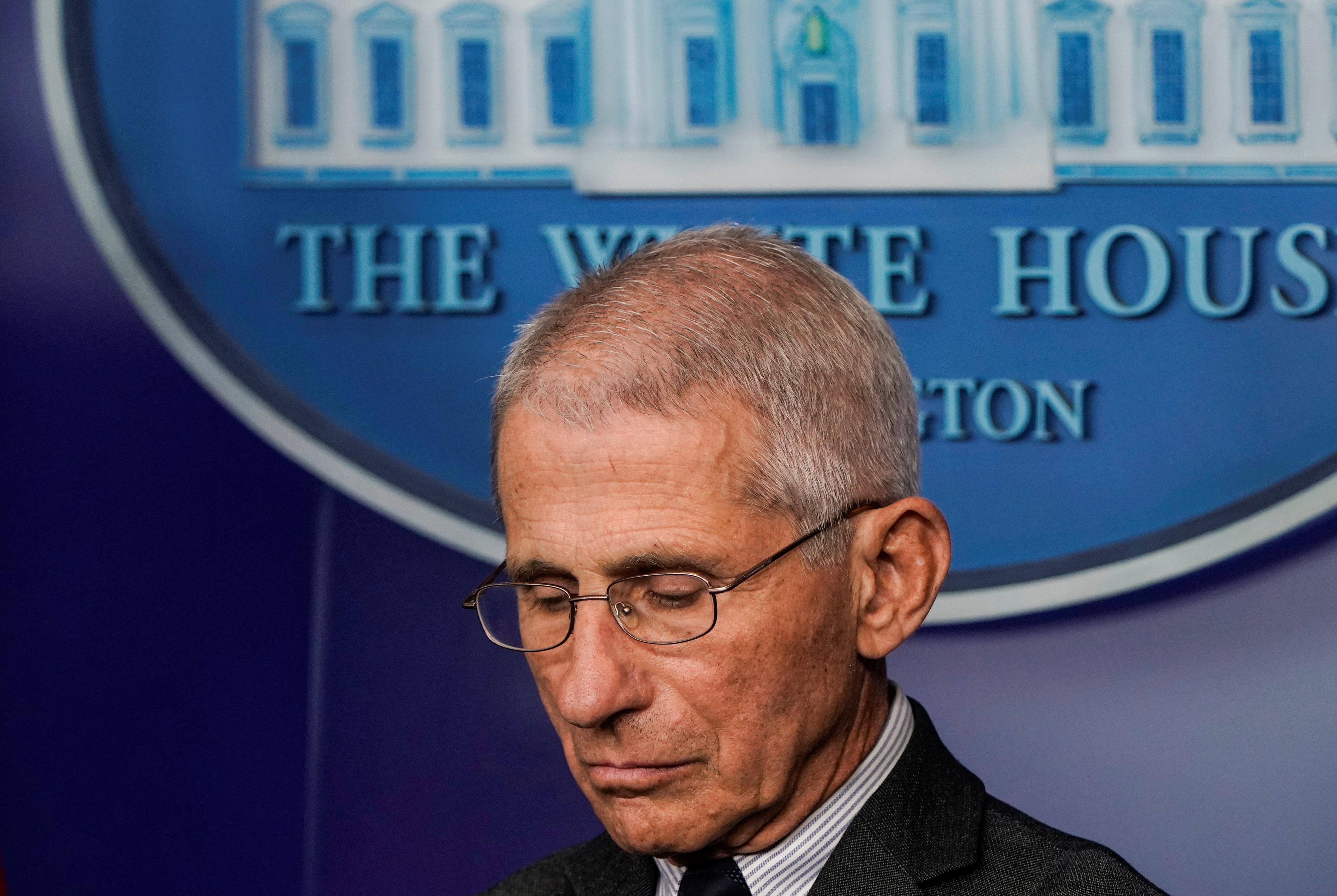 Director of the National Institute of Allergy and Infectious Diseases Anthony Fauci stands during a news briefing on the administration's response to the coronavirus disease (COVID-19) outbreak at the White House in Washington, U.S., March 21, 2020. REUTERS/Joshua Roberts