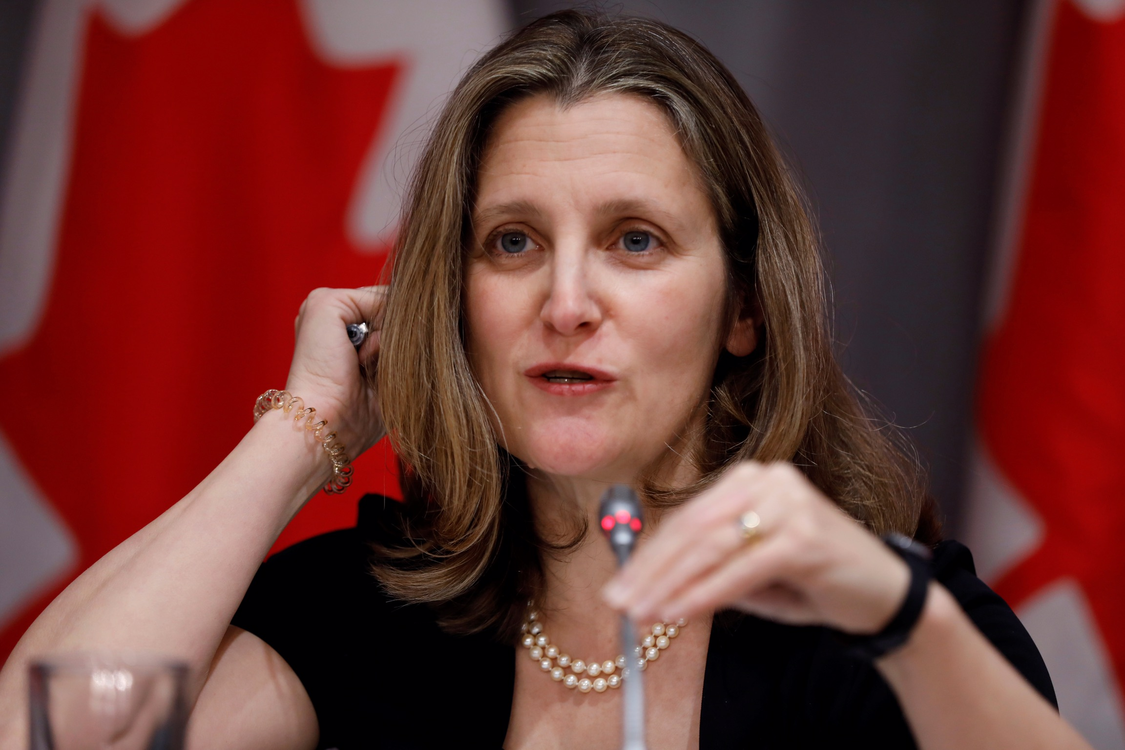 Canada's Deputy Prime Minister Chrystia Freeland attends a news conference as efforts continue to help slow the spread of coronavirus disease (COVID-19) in Ottawa, Ontario, Canada March 23, 2020. REUTERS/Blair Gable
