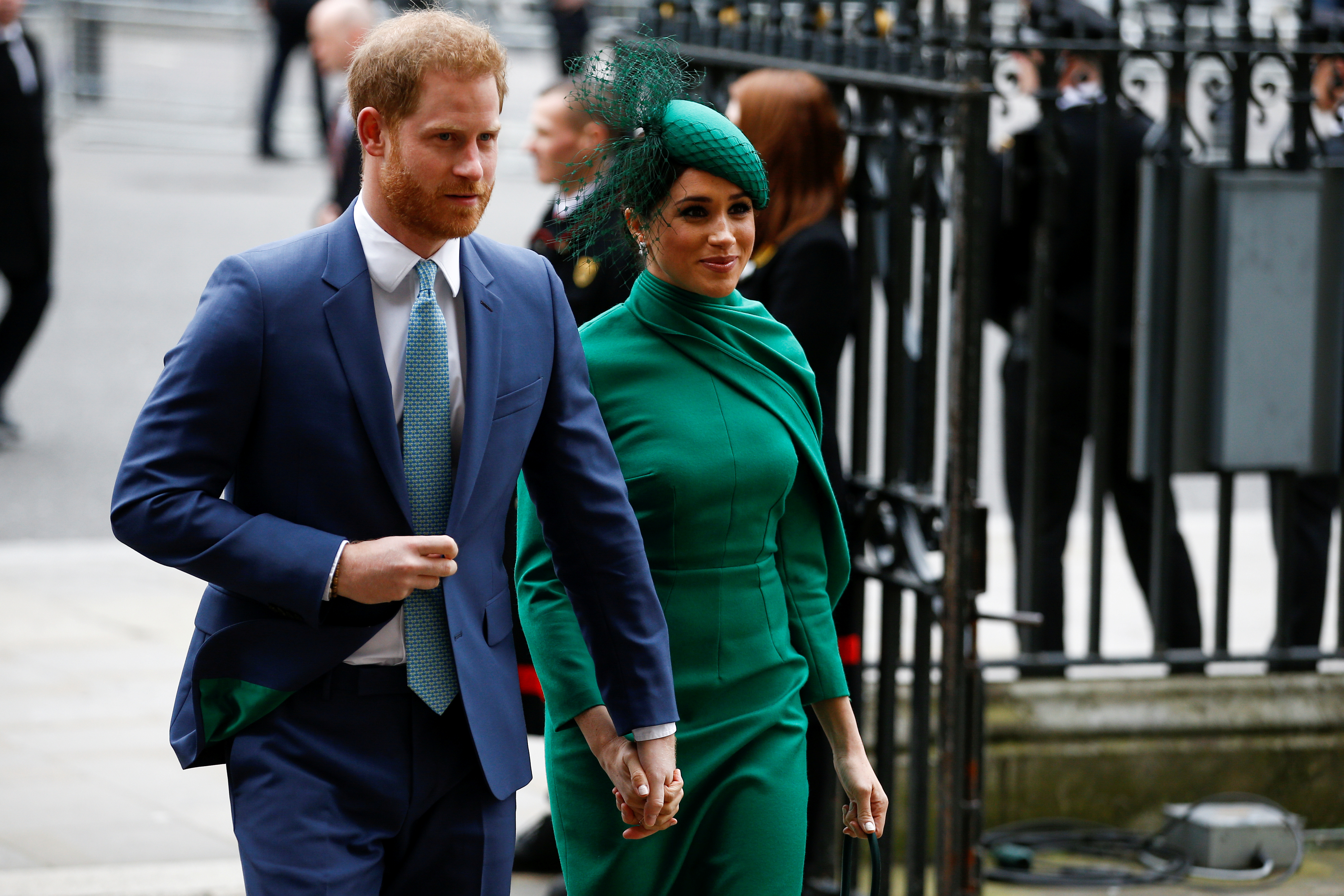FILE PHOTO: Britain's Prince Harry and Meghan, Duchess of Sussex, arrive for the annual Commonwealth Service at Westminster Abbey in London, Britain March 9, 2020. REUTERS/Henry Nicholls/File Photo -