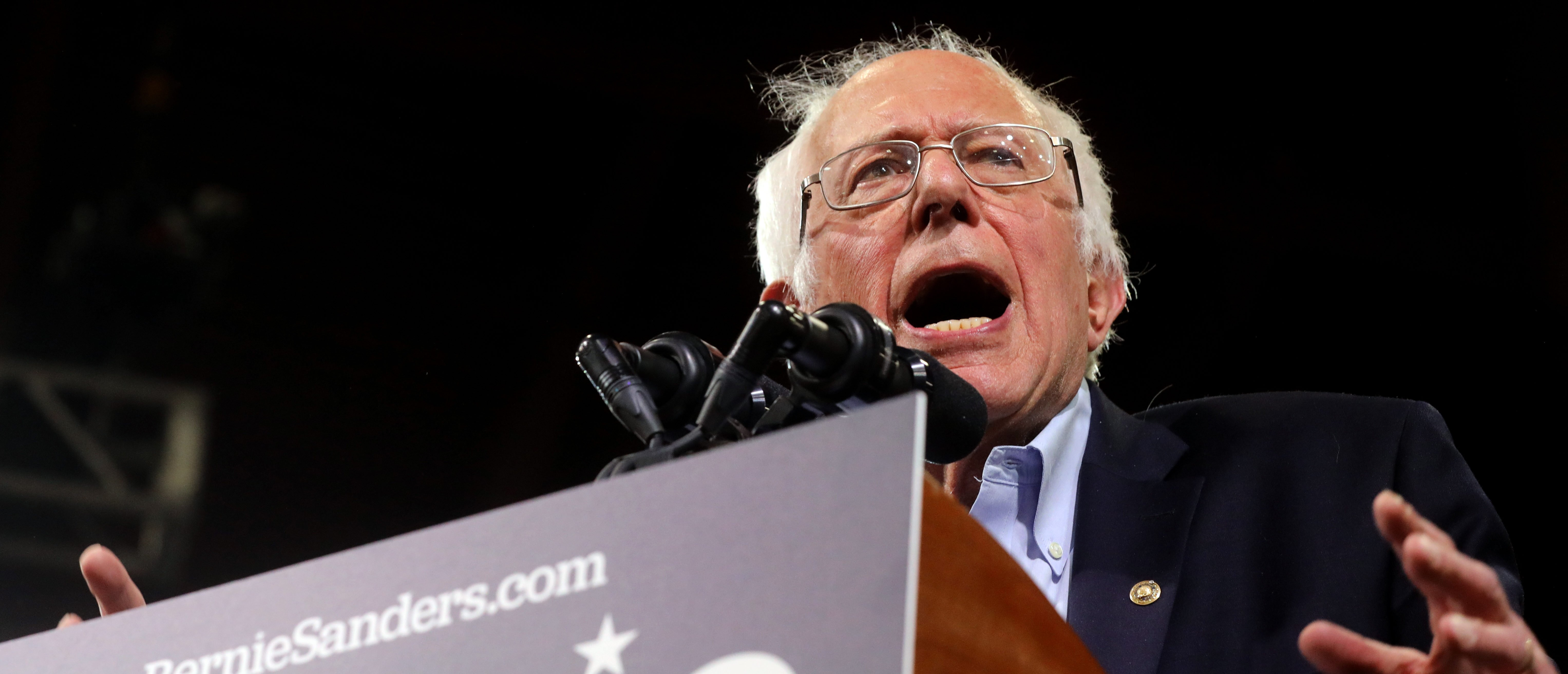 Democratic U.S. presidential candidate Senator Bernie Sanders aspeaks at his Super Tuesday rally in Essex Junction