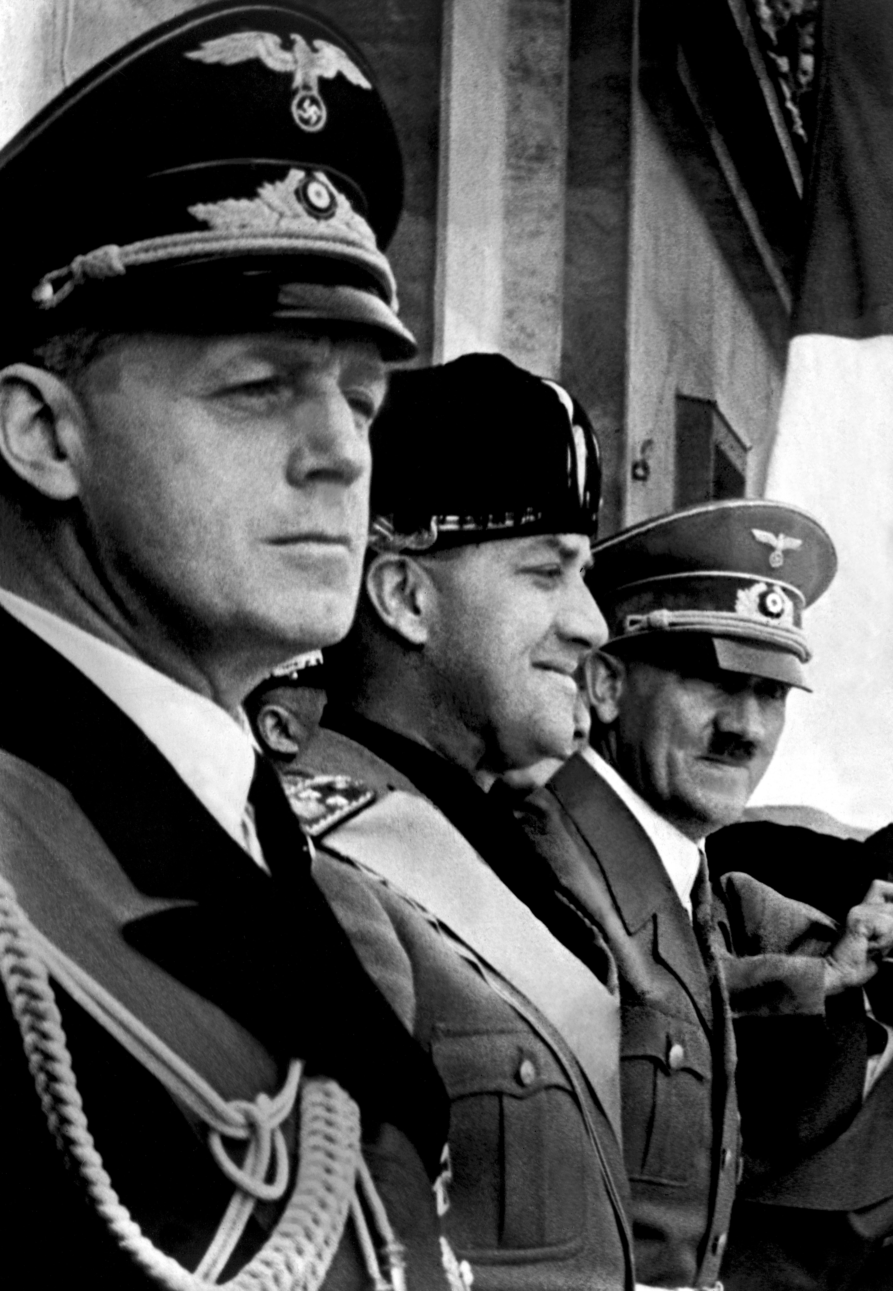 A picture dated 1939 shows German nazi Chancellor and dictator Adolf Hitler (3rd L), Italian Foreign Minister Galeazzo Ciano (2nd L), and German nazi Foreign Minister Joachim von Ribbentrop (Photo credit should read /AFP via Getty Images)