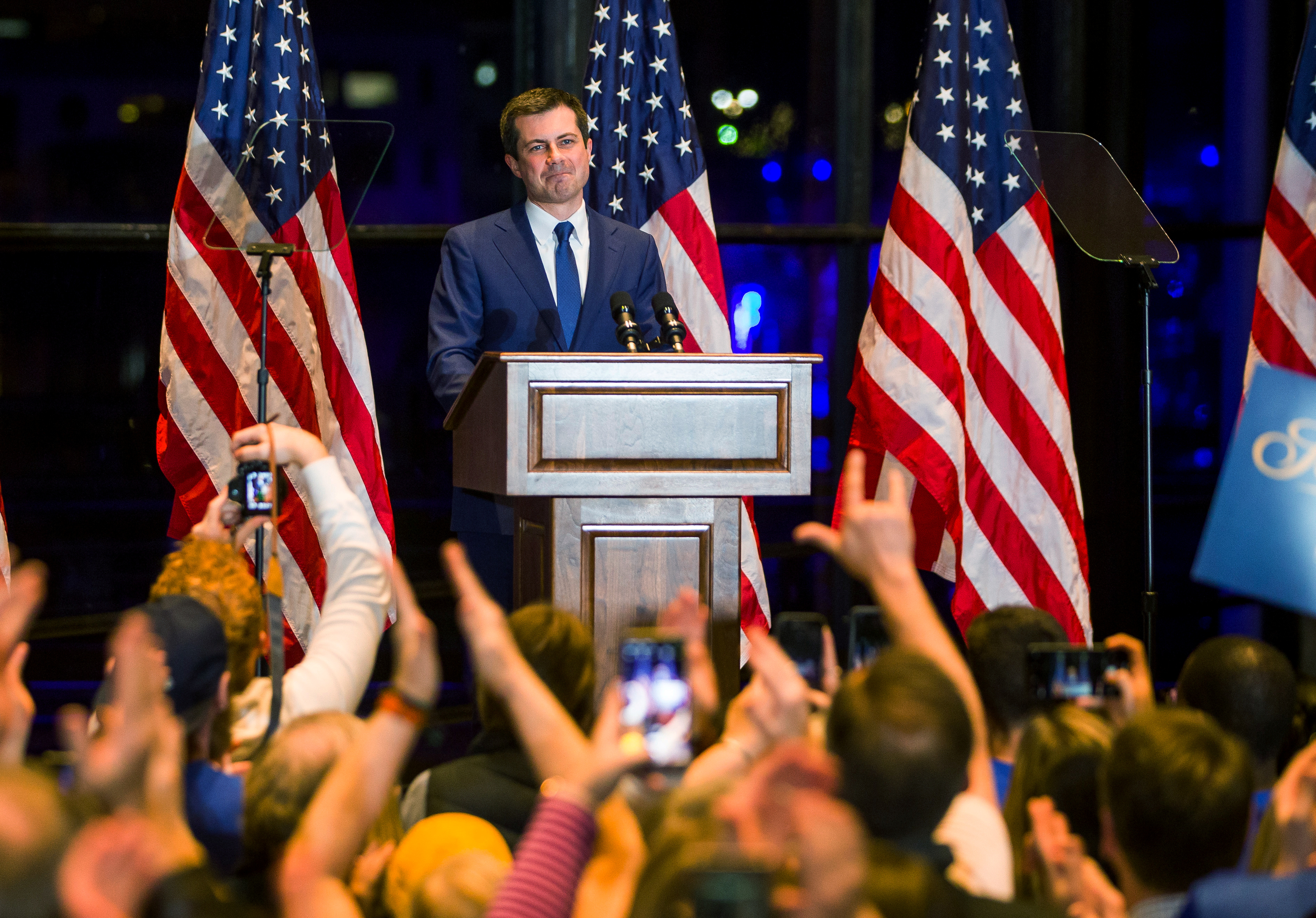 Democratic U.S. presidential candidate Pete Buttigieg announces his withdrawal from the race for the 2020 Democratic presidential nomination during an event in South Bend, Indiana, U.S., March 1, 2020. Mandatory Credit: Santiago Flores/South Bend Tribune via USA TODAY NETWORK via REUTERS