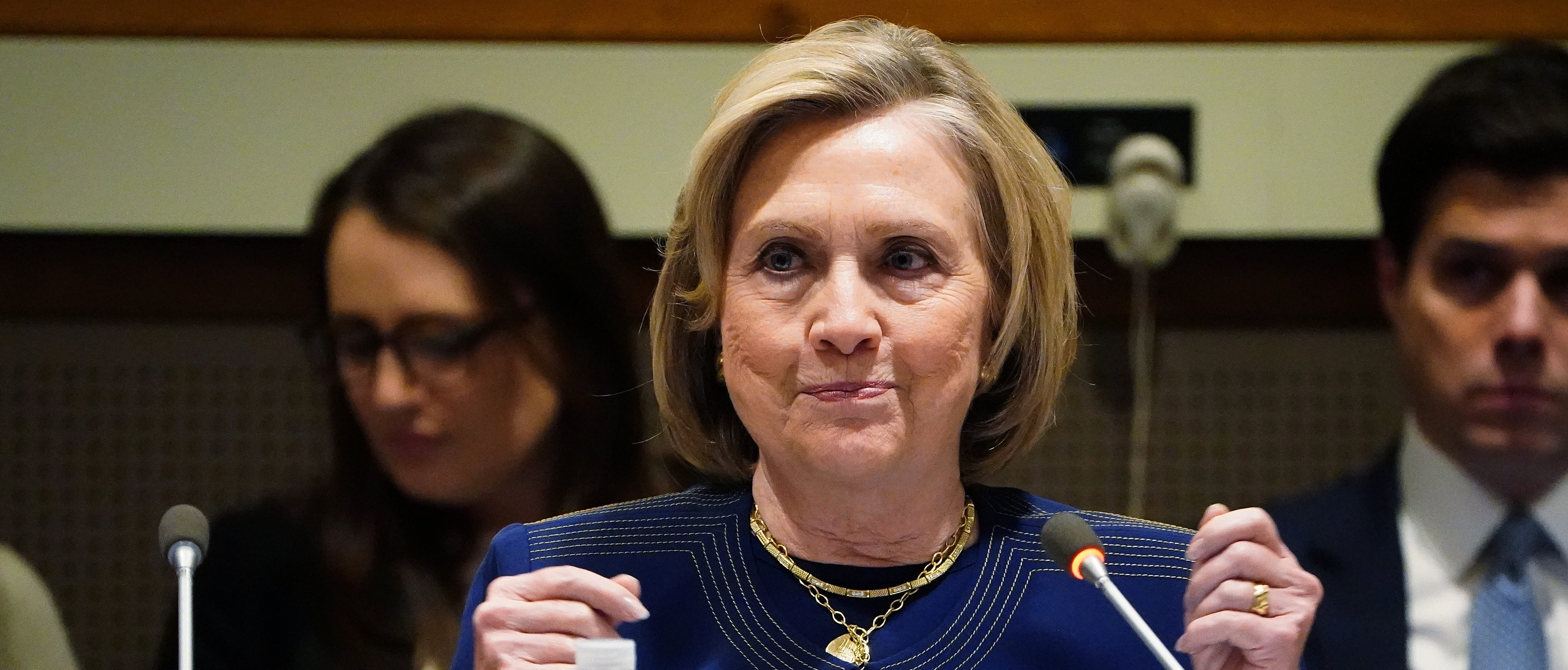 Former U.S. Secretary of State Hillary Clinton speaks at United Nations Headquarters on a panel about including women in the peace process in Afghanistan, in the Manhattan borough of New York City, New York, U.S., March 10, 2020. REUTERS/Carlo Allegri