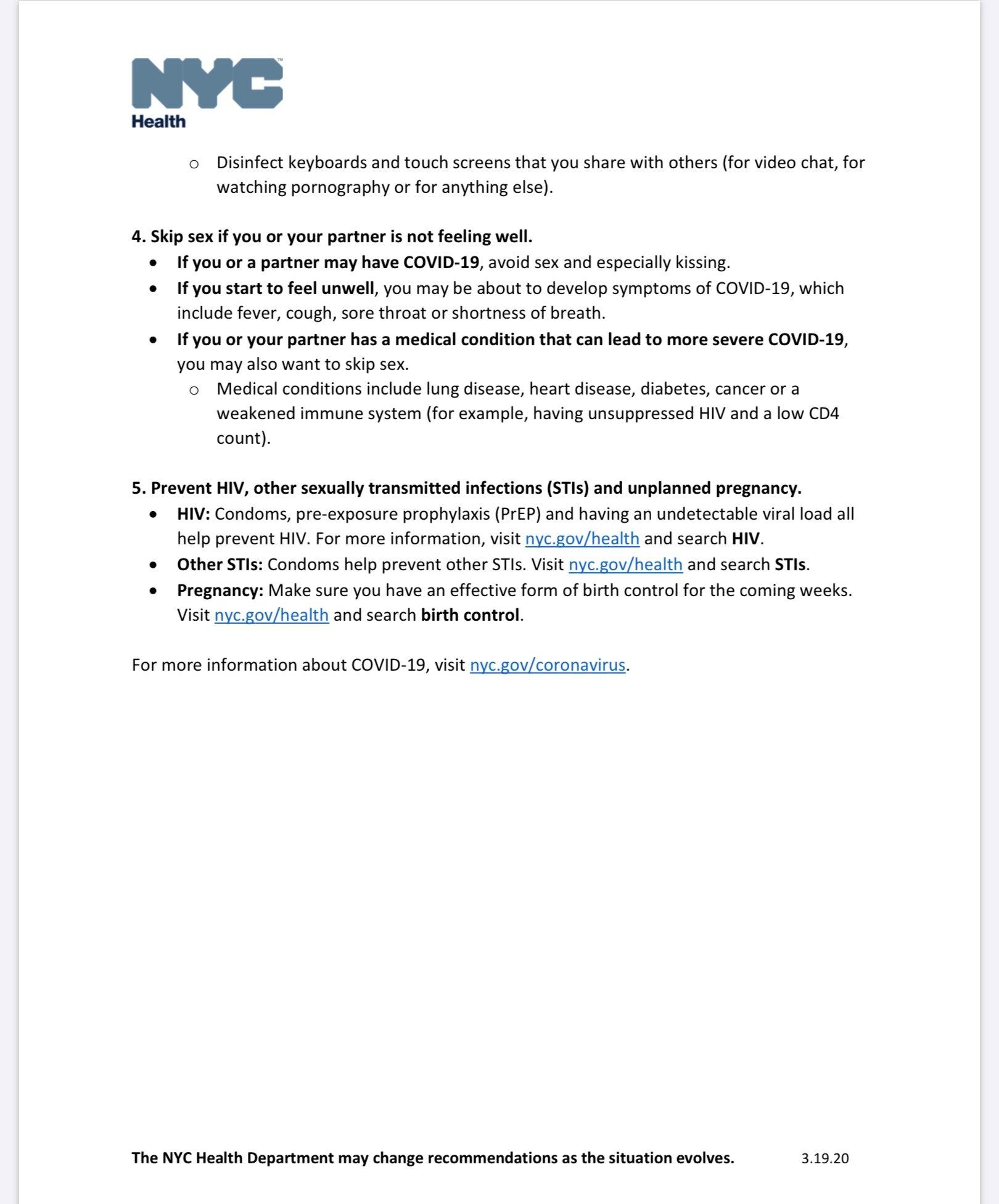 """New York City Health Department's """"Sex and Coronavirus"""" Guide"""