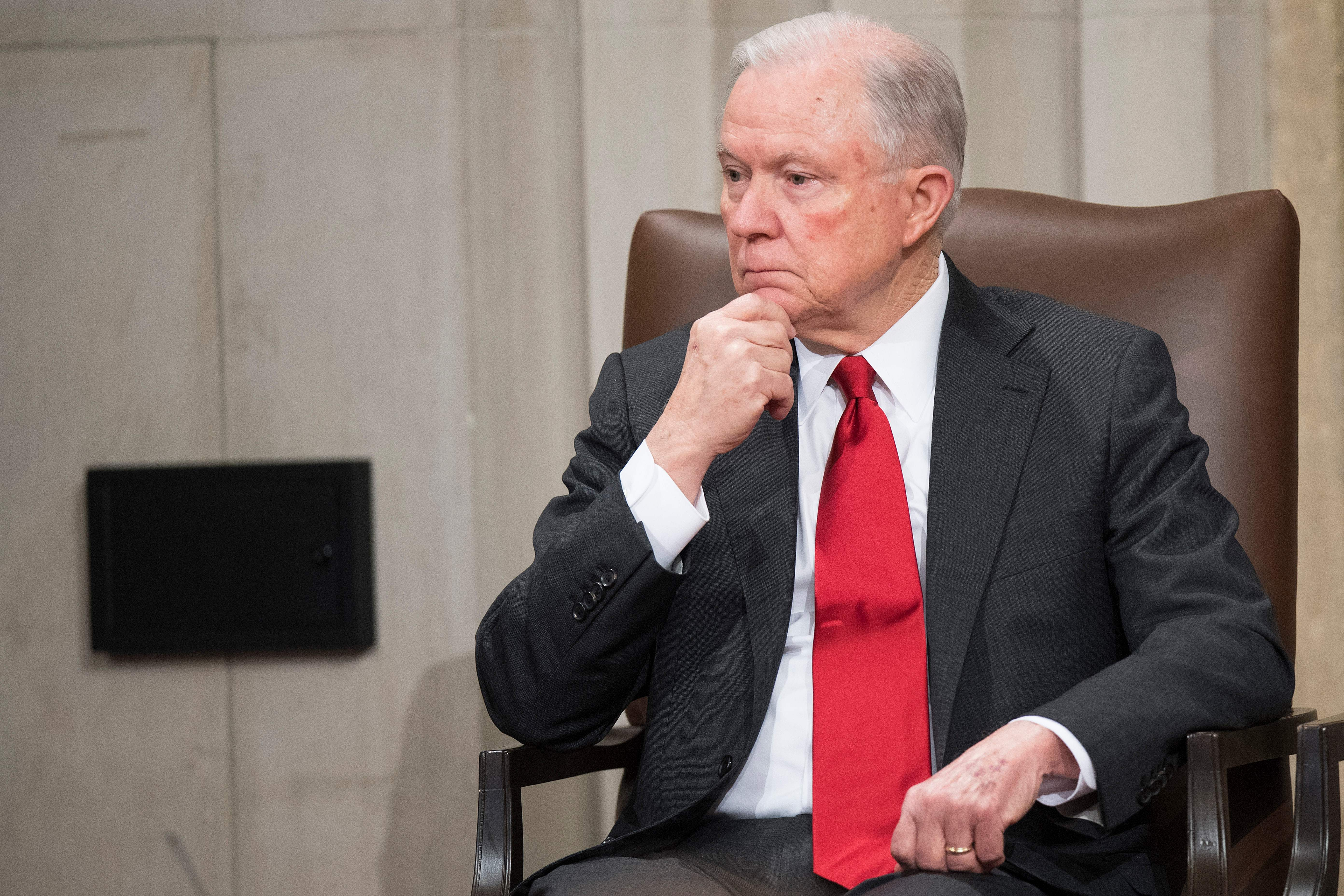 Attorney General Jeff Sessions waits to speak at the US Marshal Service's Director's Honorary Awards ceremony in Washington, DC, on November 1, 2018. (Photo: JIM WATSON/AFP via Getty Images)