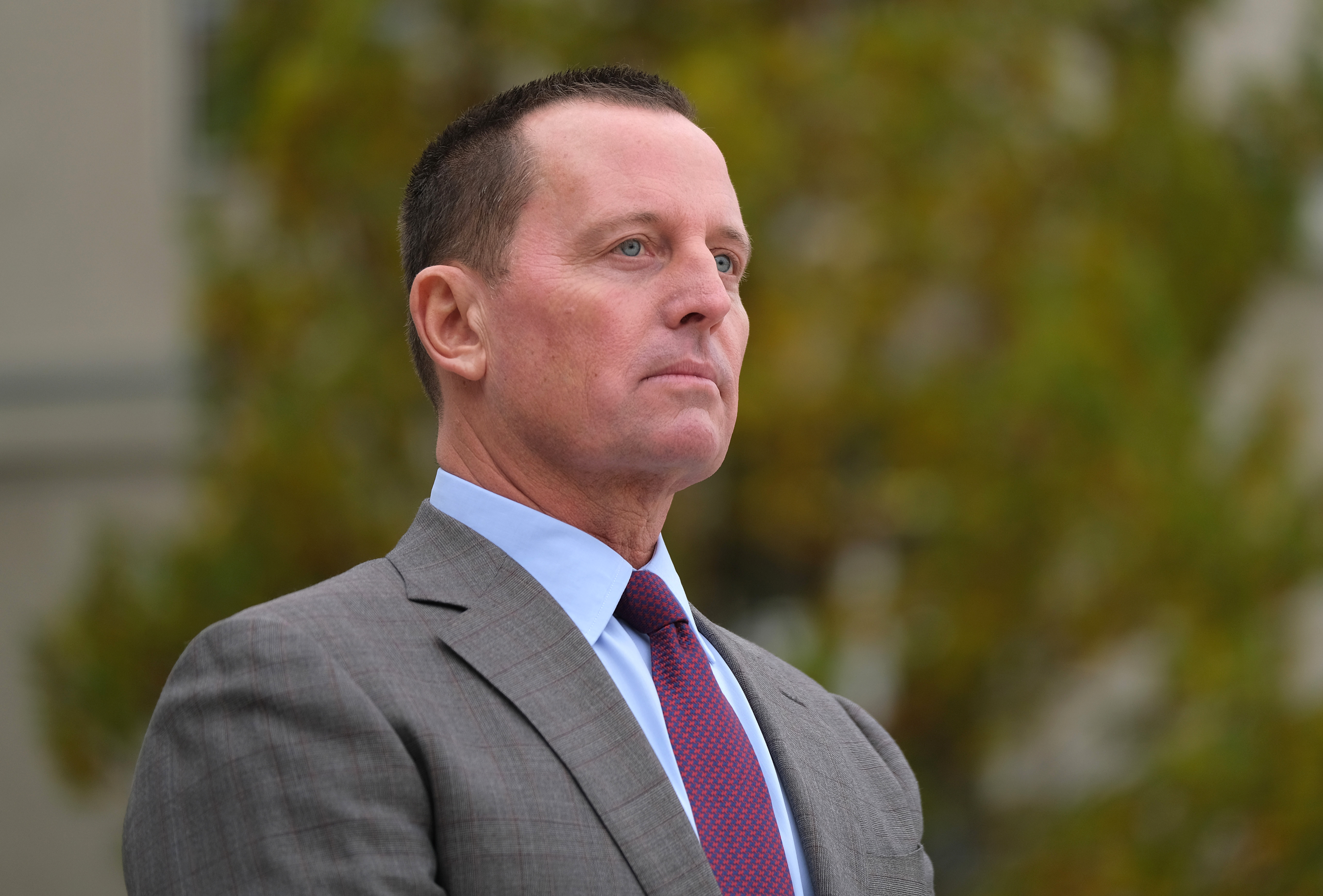 BERLIN, GERMANY - NOVEMBER 08: U.S. Ambassador to Germany Richard Grenell waits for the arrival of U.S. Secretary of State Mike Pompeo for talks with German Defense Minister Annegret Kramp-Karrenbauer at the Federal Defense Ministry on November 08, 2019 in Berlin, Germany. Pompeo is on a two-day visit to Germany ahead of the 30th anniversary of the fall of the Berlin Wall. (Photo by Sean Gallup/Getty Images)