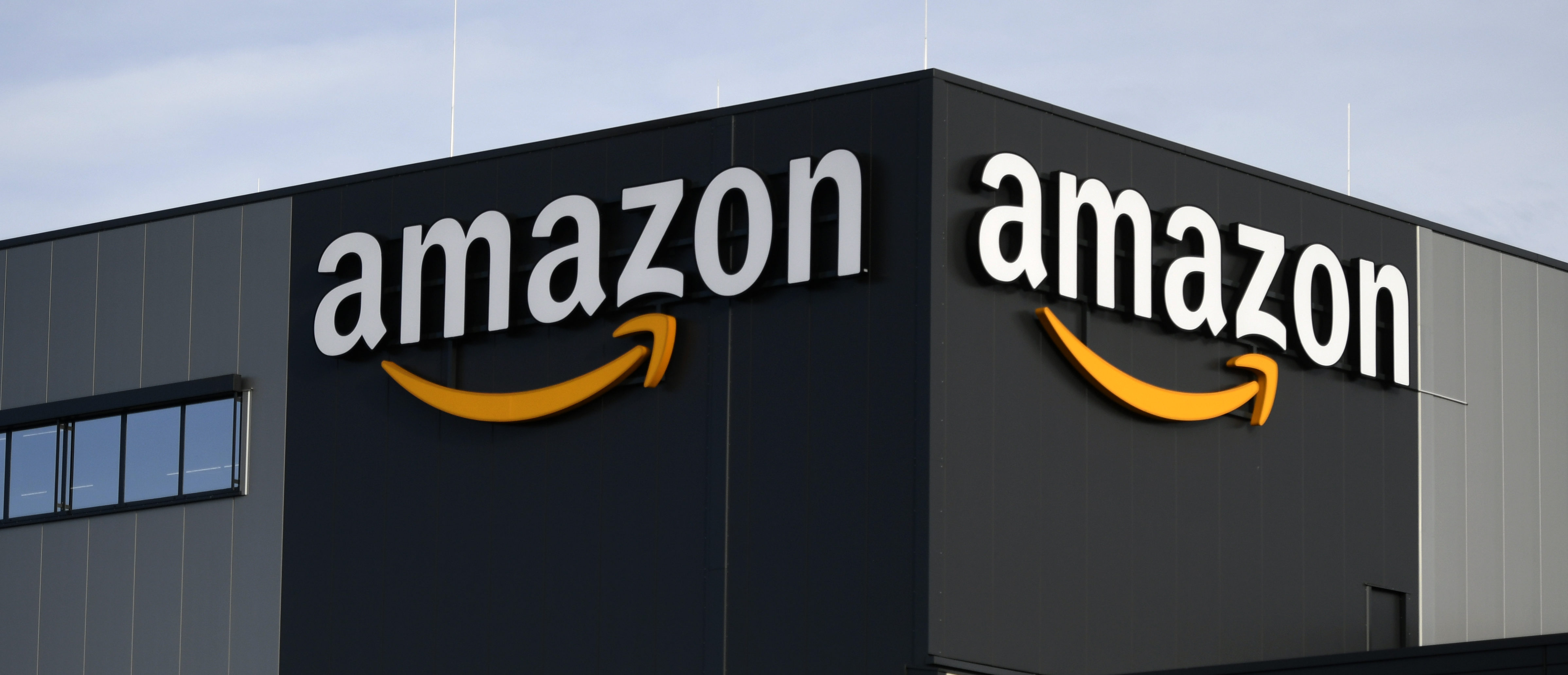 This picture shows the logo of US online retail giant Amazon at the distribution center in Moenchengladbach, western Germany, on December 17, 2019. (INA FASSBENDER/AFP via Getty Images)