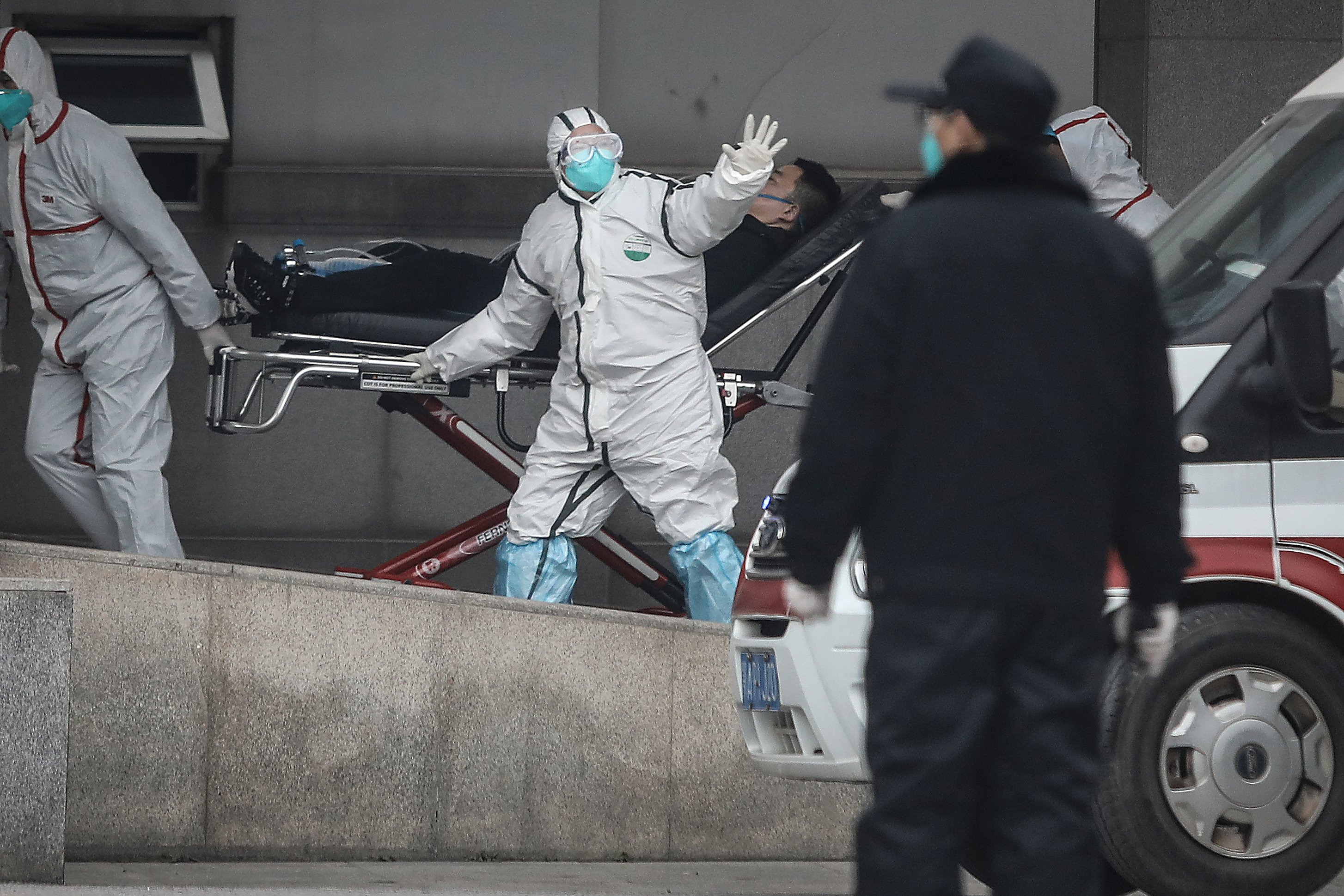 Medical staff transfer patients to Jin Yintan hospital on January 17, 2020 in Wuhan, Hubei, China. Local authorities have confirmed that a second person in the city has died. (Getty Images)