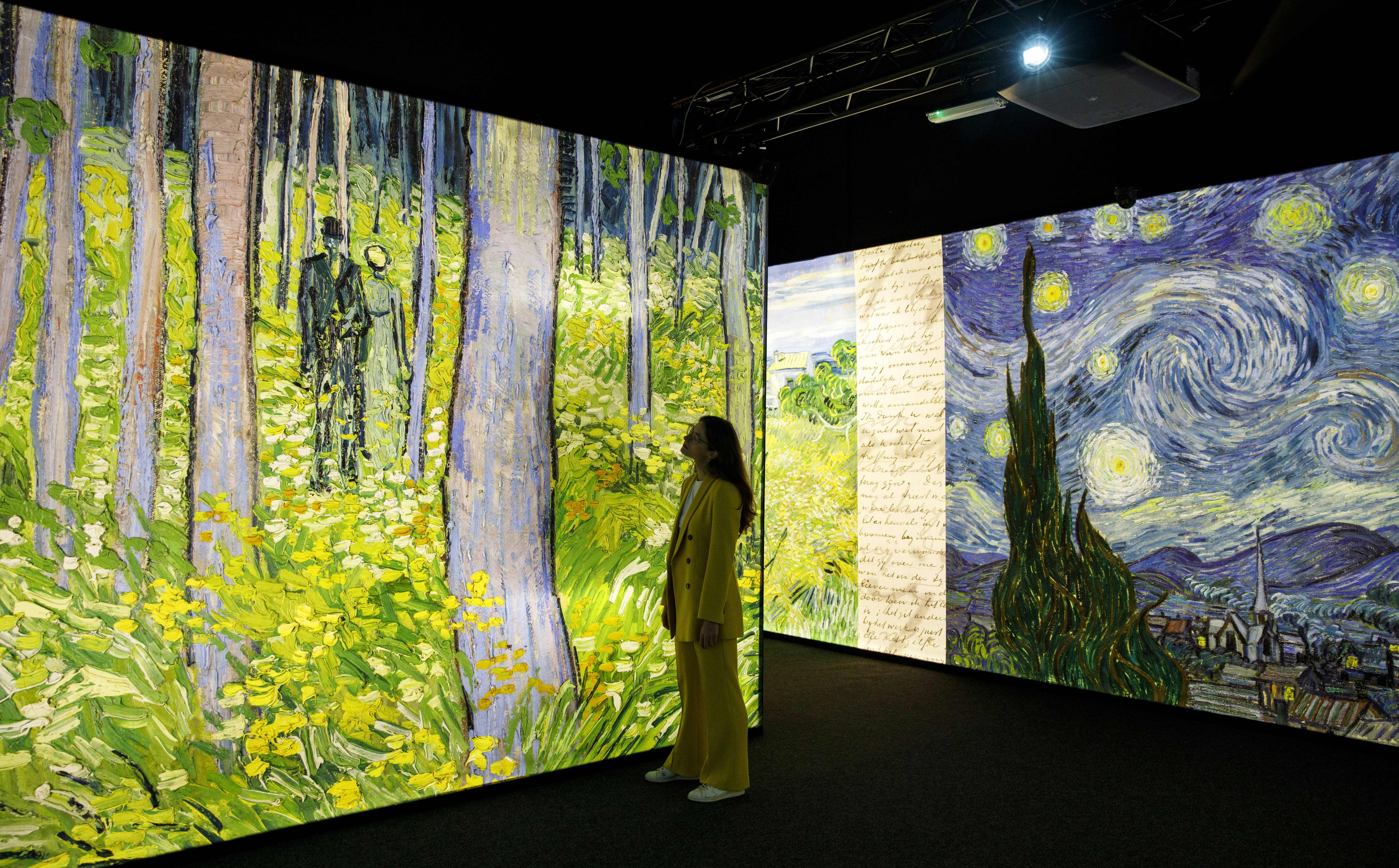 An employee poses with displays showing artworks by Dutch artist Vincent Van Gogh, during a photocall to promote the 'Meet Vincent van Gogh' exhibition, at the South Bank centre in London on February 6, 2020. (Photo by TOLGA AKMEN/AFP via Getty Images)