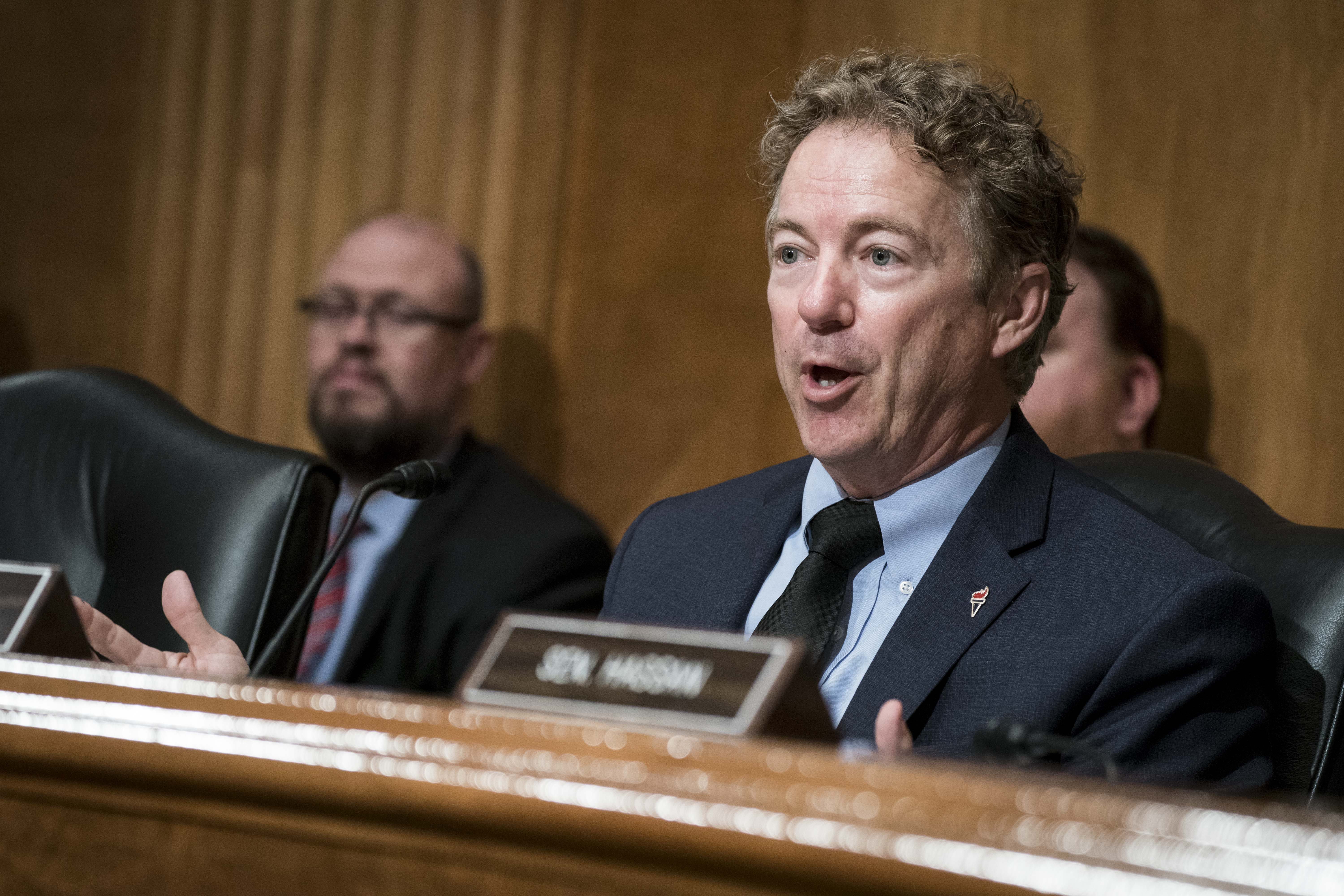 WASHINGTON, DC - FEBRUARY 11: Senator Rand Paul (R-KY) delivers an opening statement before John F. Sopko, special inspector general for Afghanistan reconstruction, testifies before the Senate Homeland Security and Governmental Affairs Committee in the Dirksen Senate Office Building on February 11, 2020 in Washington, DC. The Senate committee heard testimony on the costs and benefits of the war in Afghanistan which is America's longest war. (Photo by Sarah Silbiger/Getty Images)