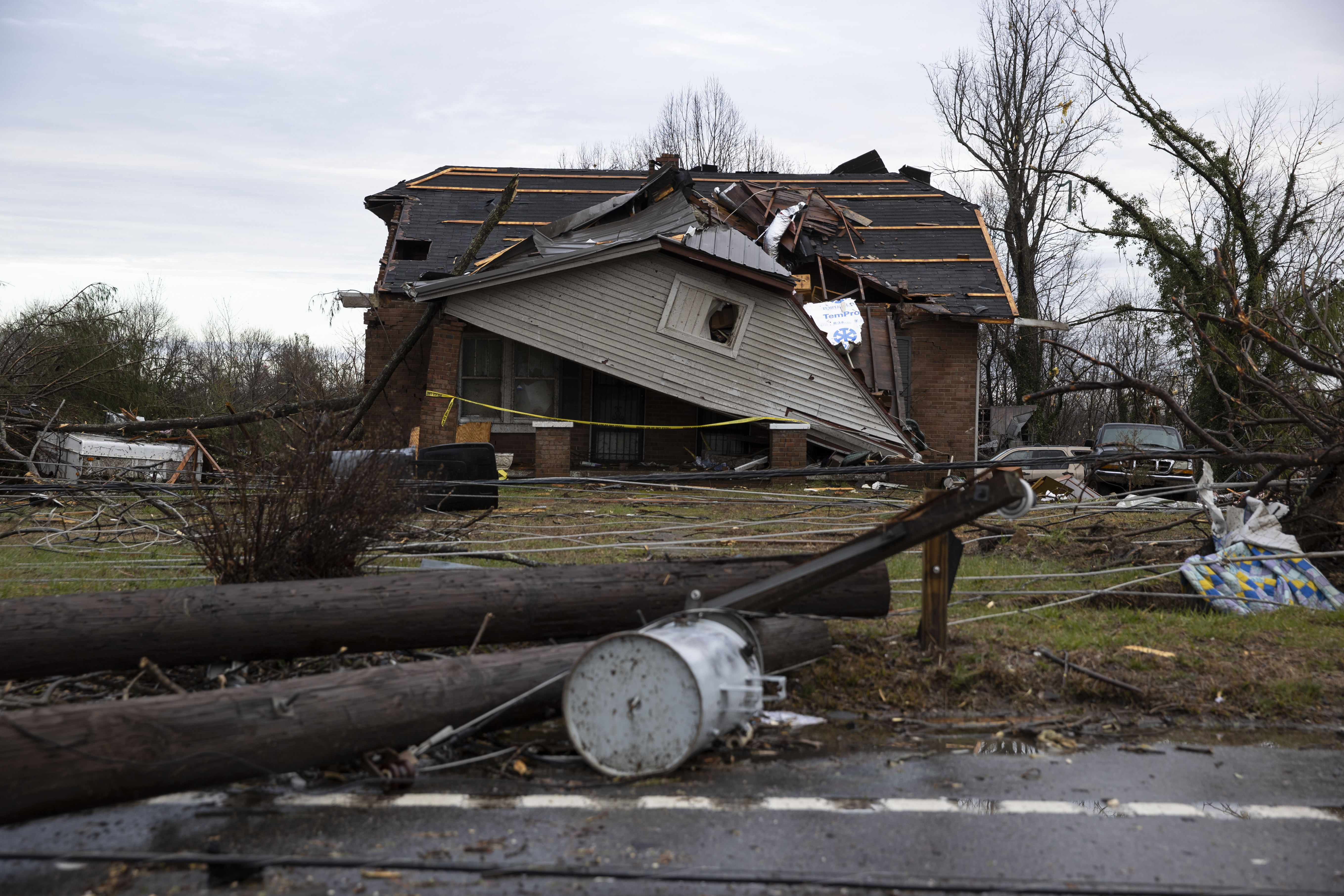 A home is shown destroyed by high winds from one of several tornadoes that tore through the state overnight on March 3, 2020 in Cookeville, Tennessee. (Photo by Brett Carlsen/Getty Images)