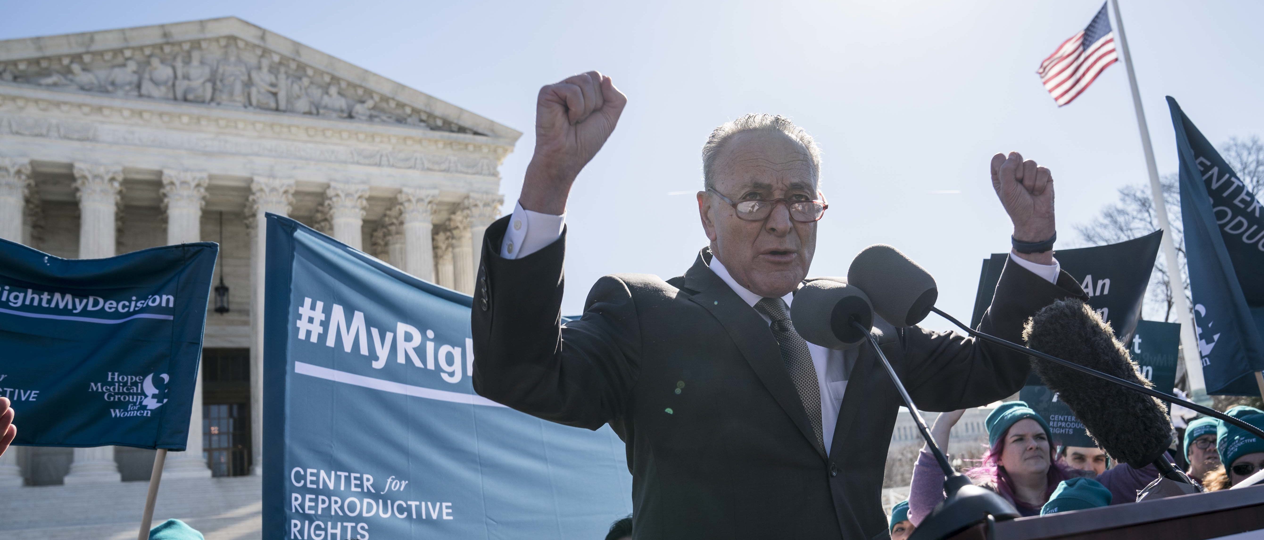WASHINGTON, DC - MARCH 04: Senate Minority Leader Sen. Chuck Schumer (D-NY) speaks in an abortion rights rally outside of the Supreme Court as the justices hear oral arguments in the June Medical Services v. Russo case on March 4, 2020 in Washington, DC. The Louisiana abortion case is the first major abortion case to make it to the Supreme Court since Donald Trump became President. (Photo by Sarah Silbiger/Getty Images)