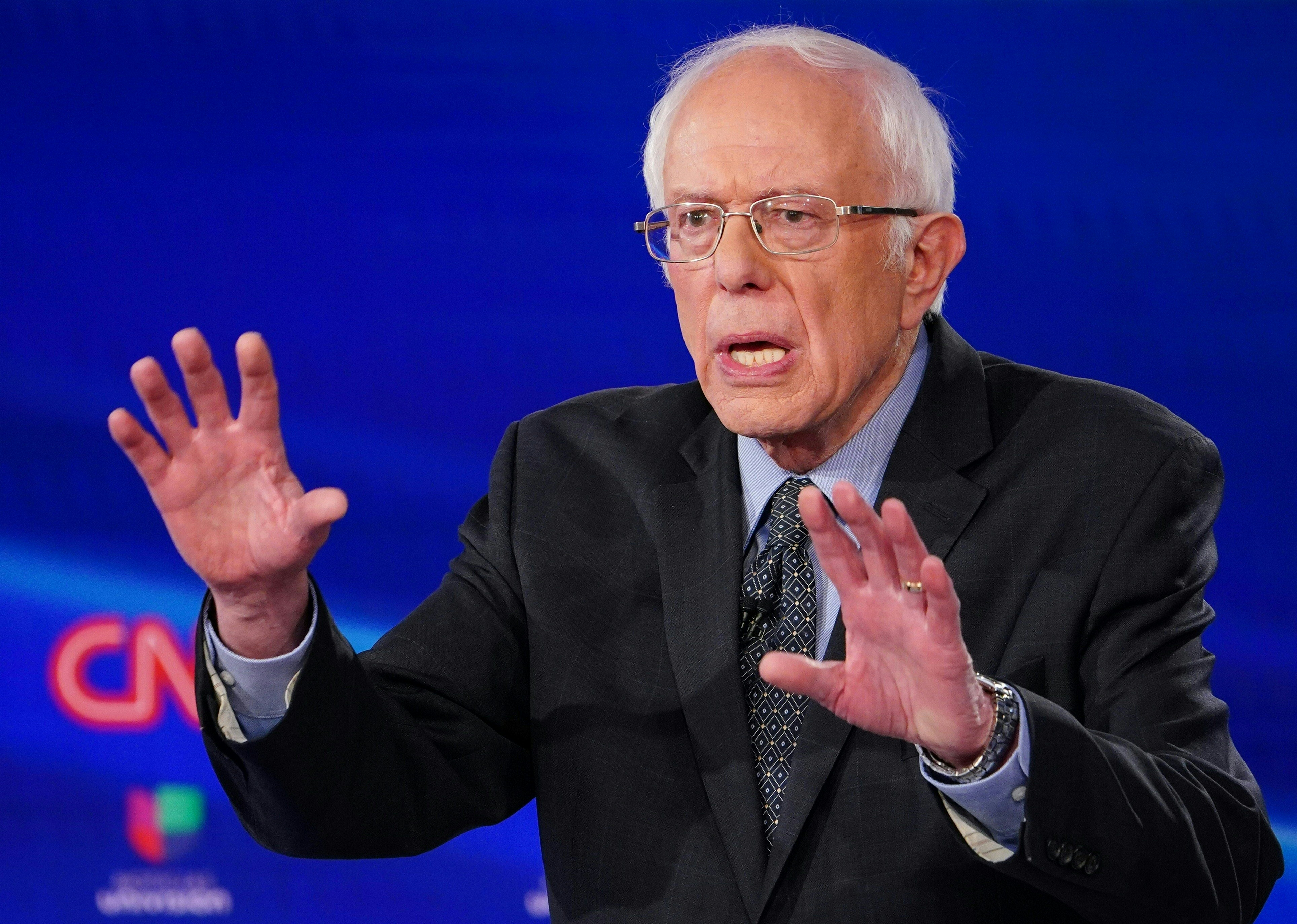 Democratic presidential hopeful Senator Bernie Sanders makes a point as he and former US vice president Joe Biden take part in the 11th Democratic Party 2020 presidential debate in a CNN Washington Bureau studio in Washington, DC on March 15, 2020. (Photo by MANDEL NGAN/AFP via Getty Images)