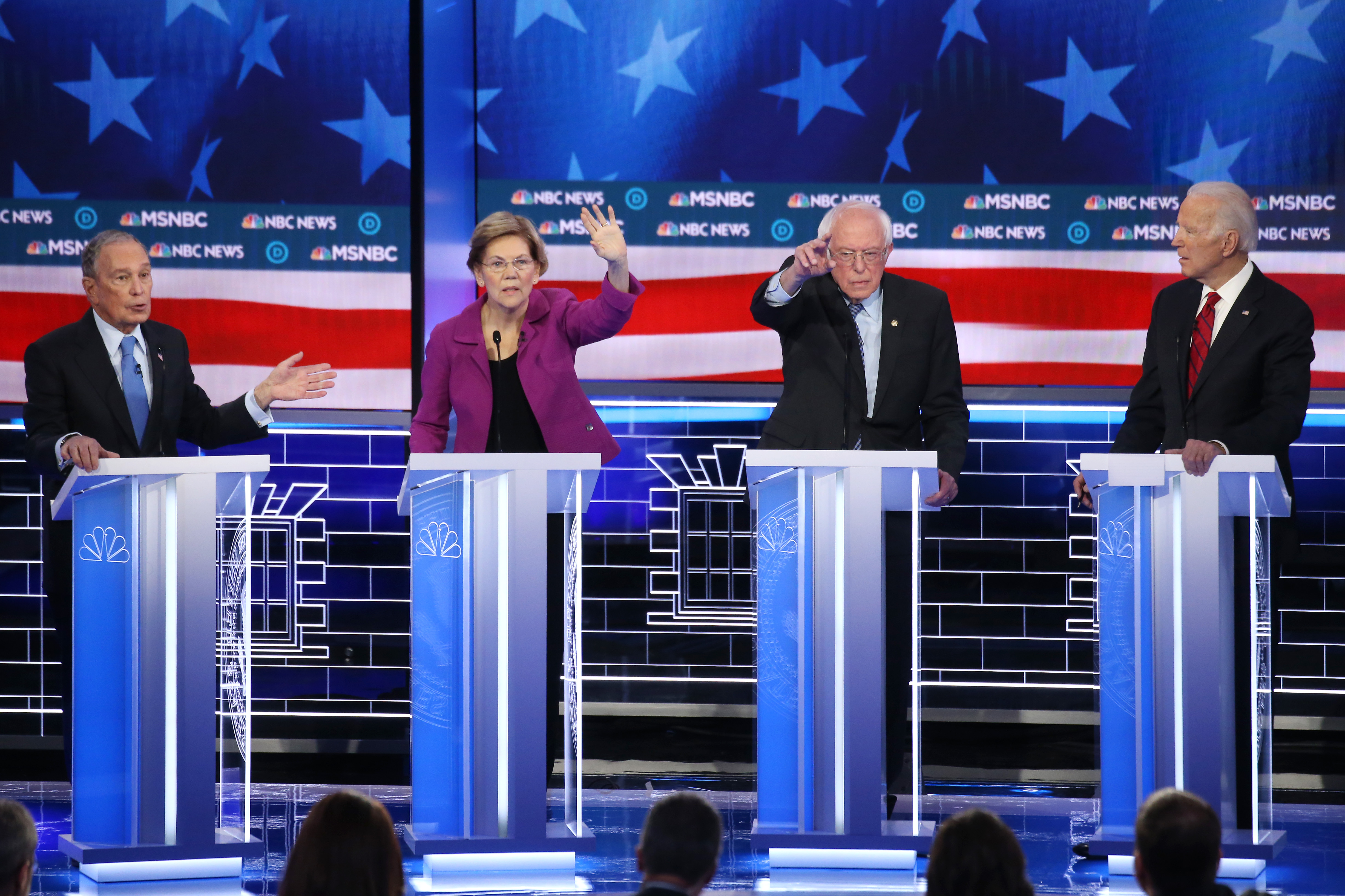 LAS VEGAS, NEVADA - FEBRUARY 19: Democratic presidential candidates (L-R) former New York City Mayor Mike Bloomberg, Sen. Elizabeth Warren (D-MA), Sen. Bernie Sanders (I-VT) and former Vice President Joe Biden participate in the Democratic presidential primary debate at Paris Las Vegas on February 19, 2020 in Las Vegas, Nevada. Six candidates qualified for the third Democratic presidential primary debate of 2020, which comes just days before the Nevada caucuses on February 22. (Photo by Mario Tama/Getty Images)