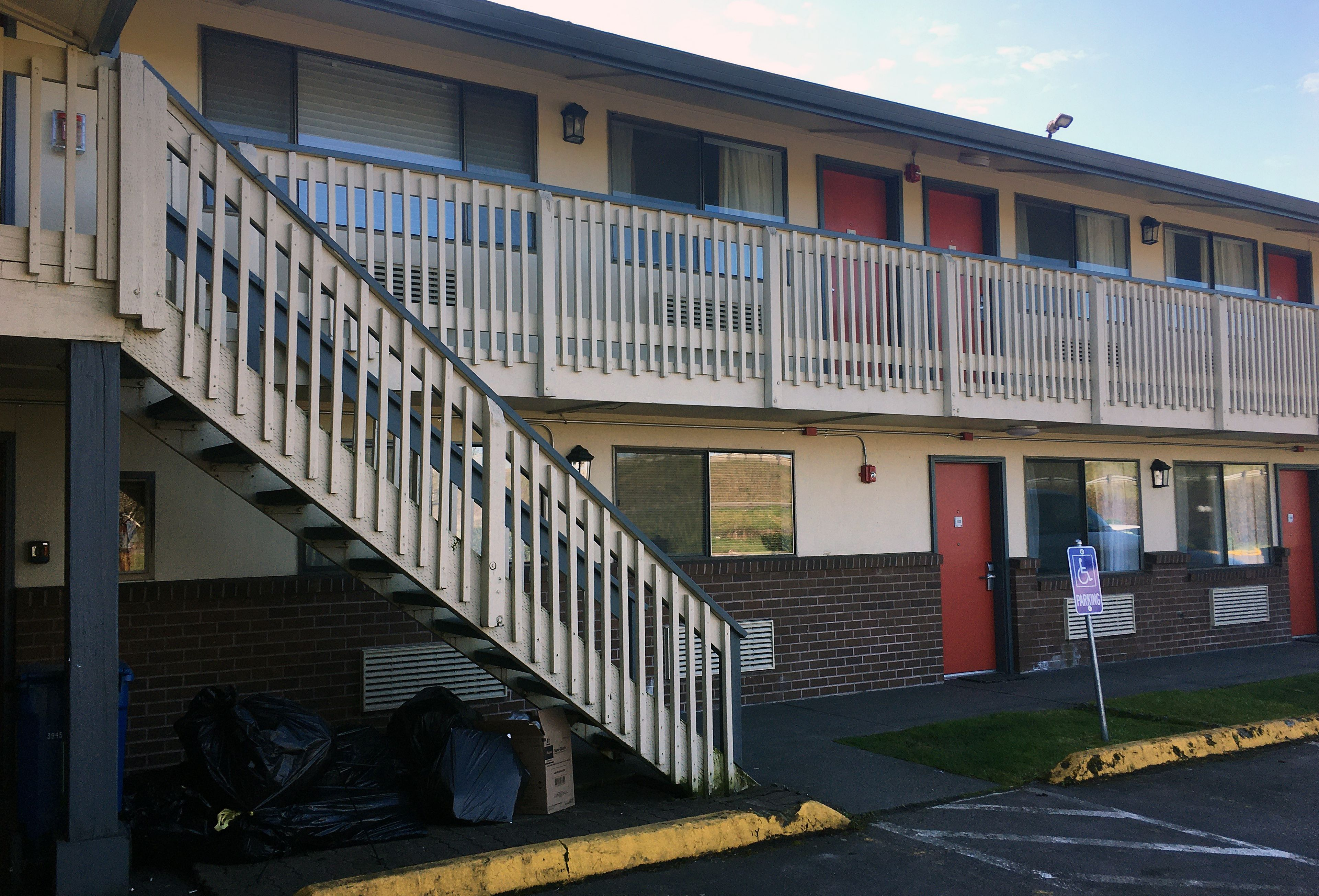 The Kent quarantine motel is pictured in Kent, Washington state on March 9, 2020. (Photo by MICHELLE WALLARD MARTIN/AFP via Getty Images)