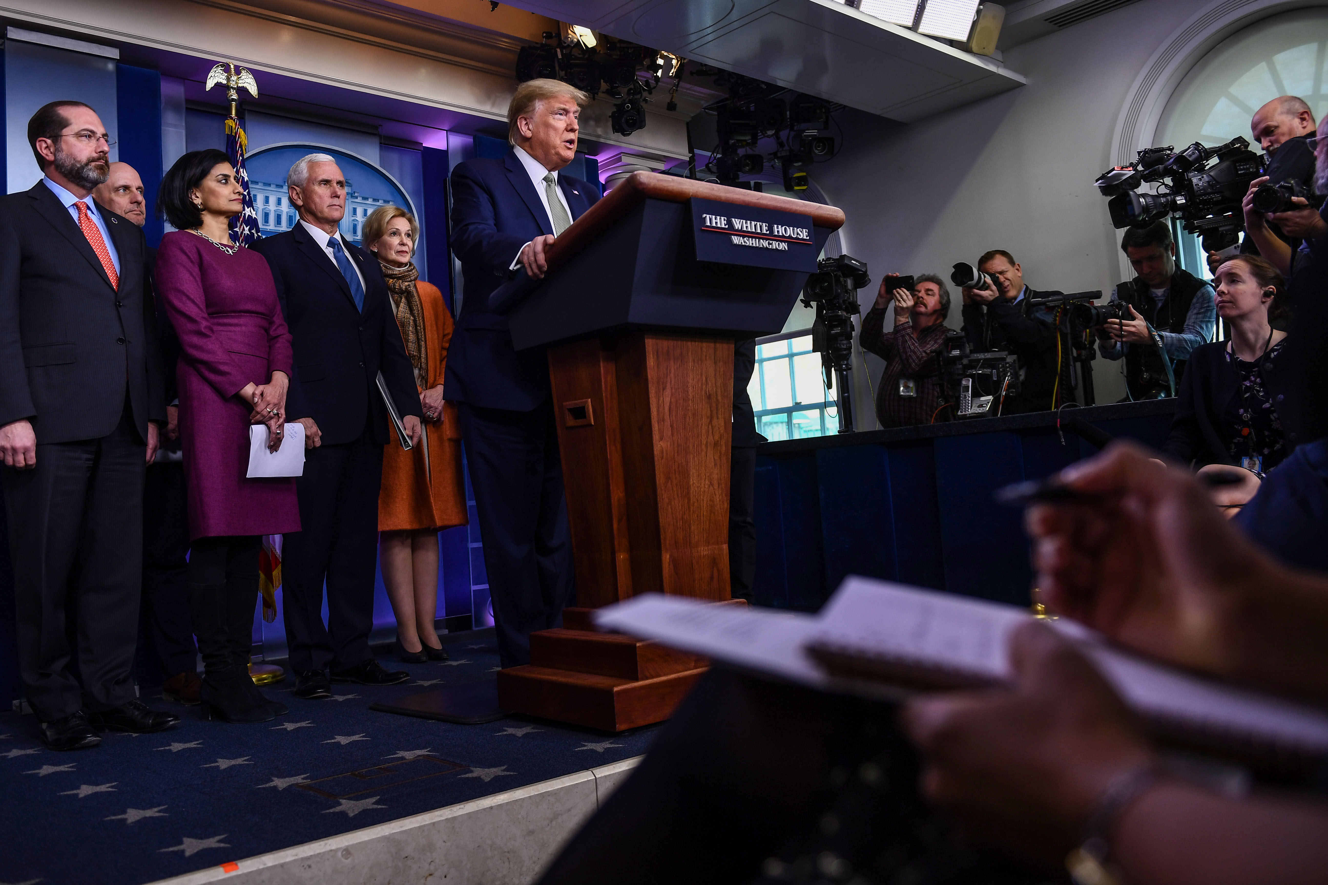 US President Donald Trump opens the daily press briefing on the Coronavirus pandemic situation at the White House on March 17, 2020 in Washington. (Photo by BRENDAN SMIALOWSKI/AFP via Getty Images)