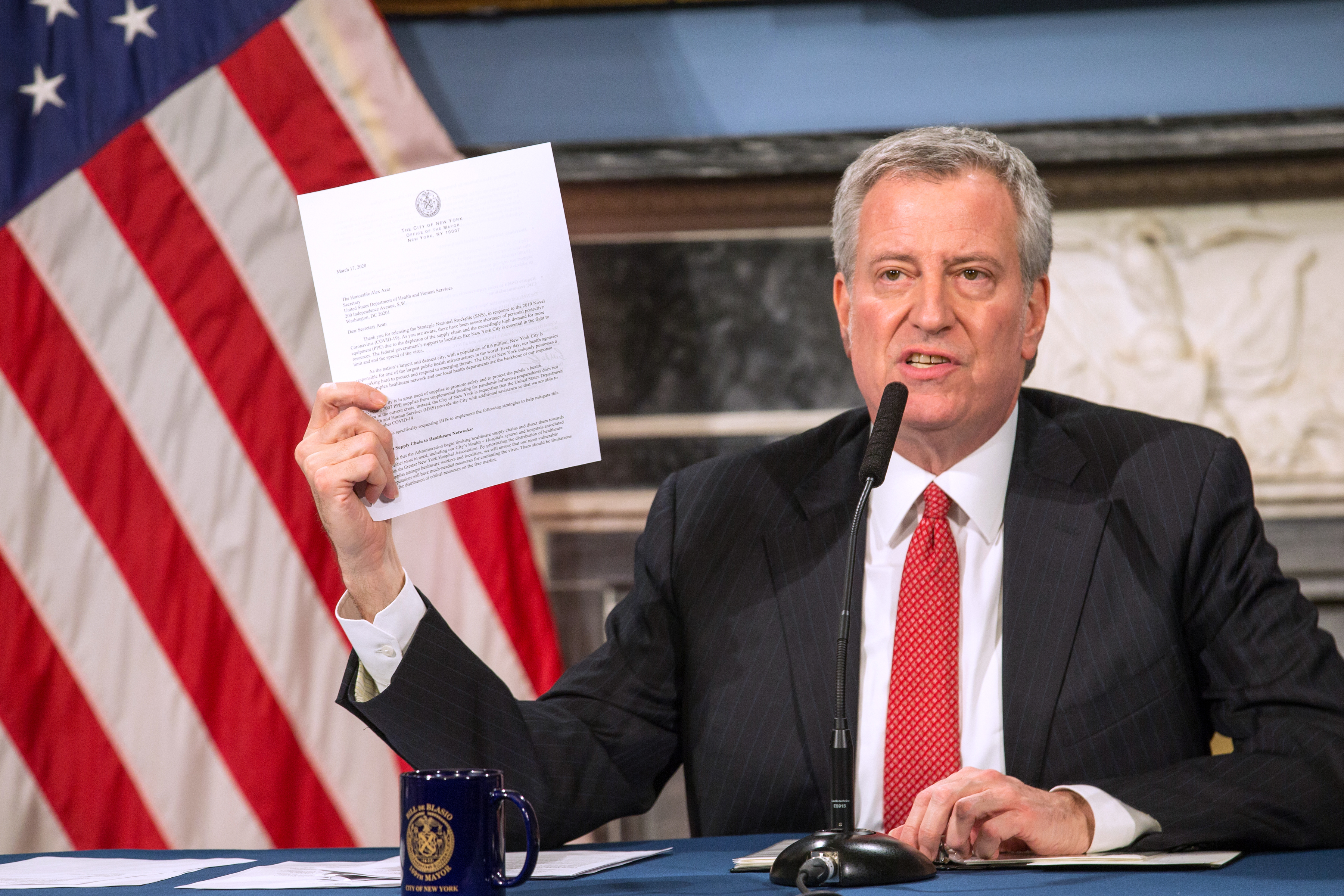 Mayor Bill De Blasio speaks during a video press conference on the city's response to the coronavirus (COVID-19) outbreak held at City Hall. (William Farrington-Pool/Getty Images)