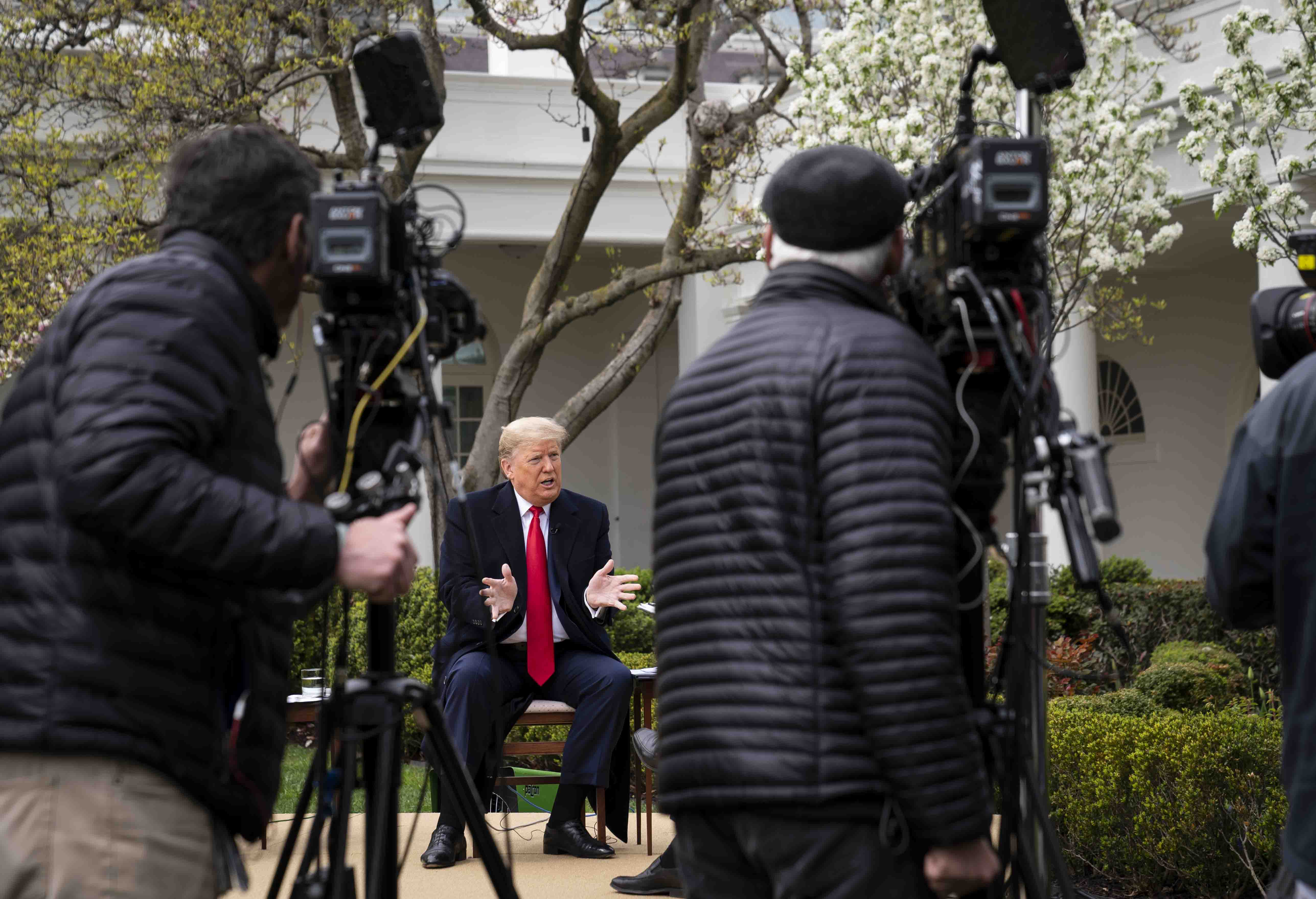 WASHINGTON, DC - MARCH 24: U.S. President Donald Trump participates in a Fox News Virtual Town Hall with Anchor Bill Hemmer, in the Rose Garden of the White House on March 24, 2020 in Washington, DC. Cases of COVID-19 continue to rise in the United States, with New York's case count doubling every three days according to governor Andrew Cuomo. (Photo by Doug Mills-Pool/Getty Images)
