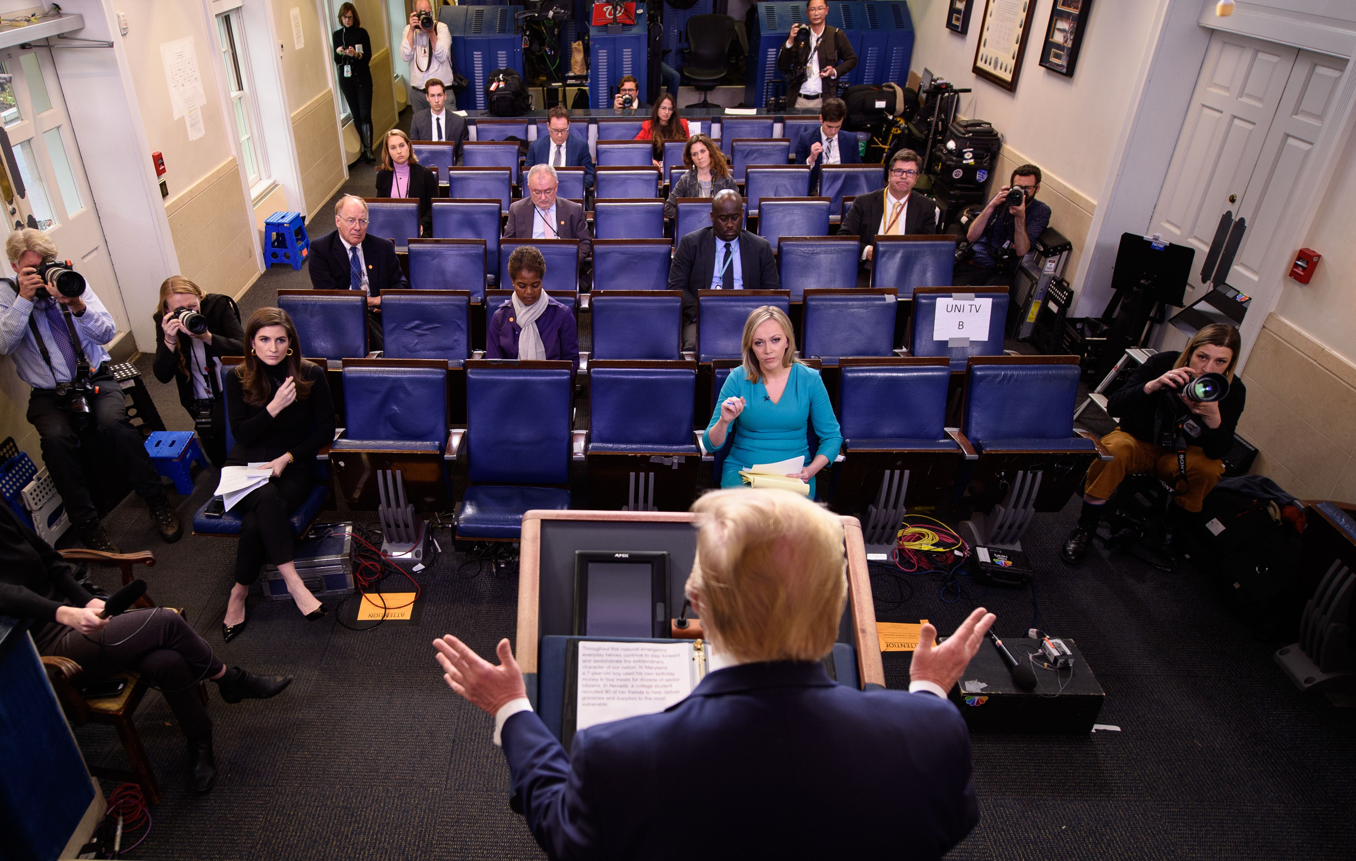 US President Donald Trump speaks during the daily briefing on the novel coronavirus, COVID-19, in the Brady Briefing Room at the White House on March 25, 2020, in Washington, DC. (MANDEL NGAN/AFP via Getty Images)