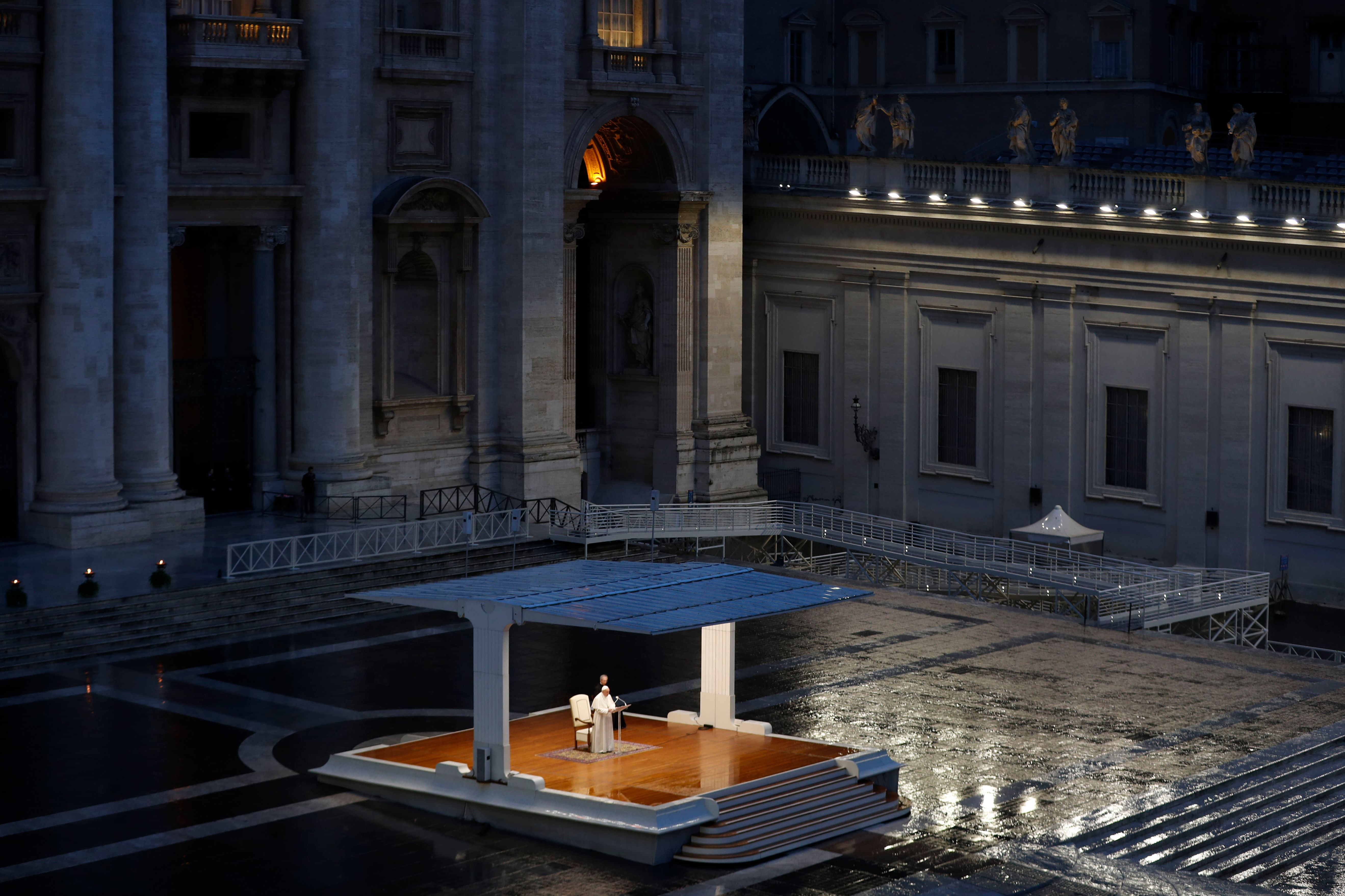 A general view shows Pope Francis (C) presiding over a moment of prayer on the sagrato of St Peters Basilica. (Photo by YARA NARDI/POOL/AFP via Getty Images)