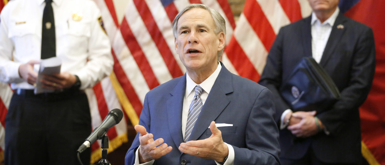 AUSTIN, TX - MARCH 29: Texas Governor Greg Abbott announced the US Army Corps of Engineers and the state are putting up a 250-bed field hospital at the Kay Bailey Hutchison Convention Center in downtown Dallas during a press conference at the Texas State Capitol in Austin, Sunday, March 29, 2020. The space can expand to nearly 1,400 beds. Joining him are Texas Division of Emergency Management Chief Nim Kidd (left) and former State Representative Dr. John Zerwas (right). (Photo by Tom Fox-Pool/Getty Images)