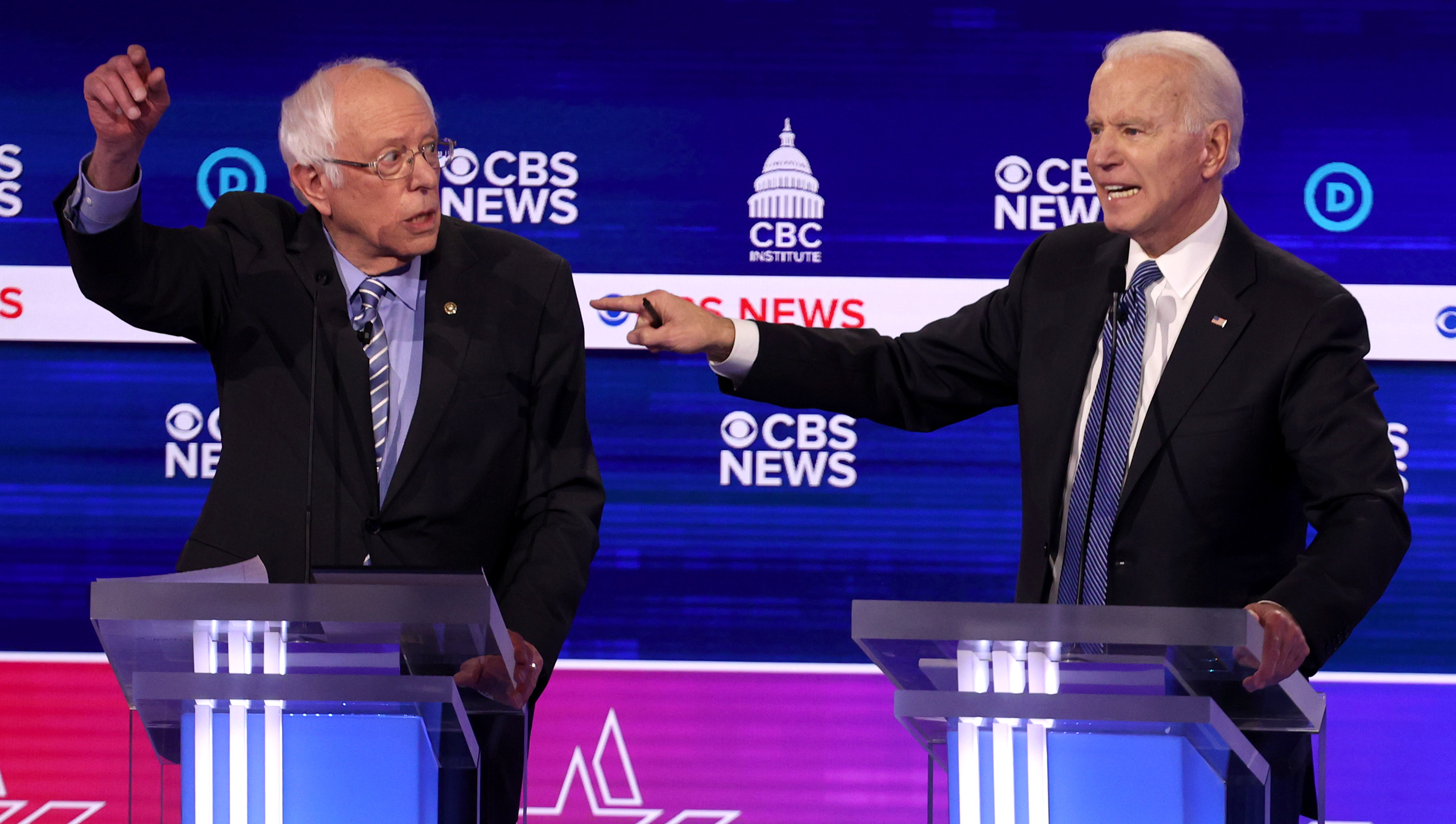 CHARLESTON, SOUTH CAROLINA - FEBRUARY 25: Democratic presidential candidate former Vice President Joe Biden speaks as Sen. Bernie Sanders (I-VT) (L) looks on during the Democratic presidential primary debate at the Charleston Gaillard Center on February 25, 2020 in Charleston, South Carolina. Seven candidates qualified for the debate, hosted by CBS News and Congressional Black Caucus Institute, ahead of South Carolina's primary in four days. (Photo by Win McNamee/Getty Images)