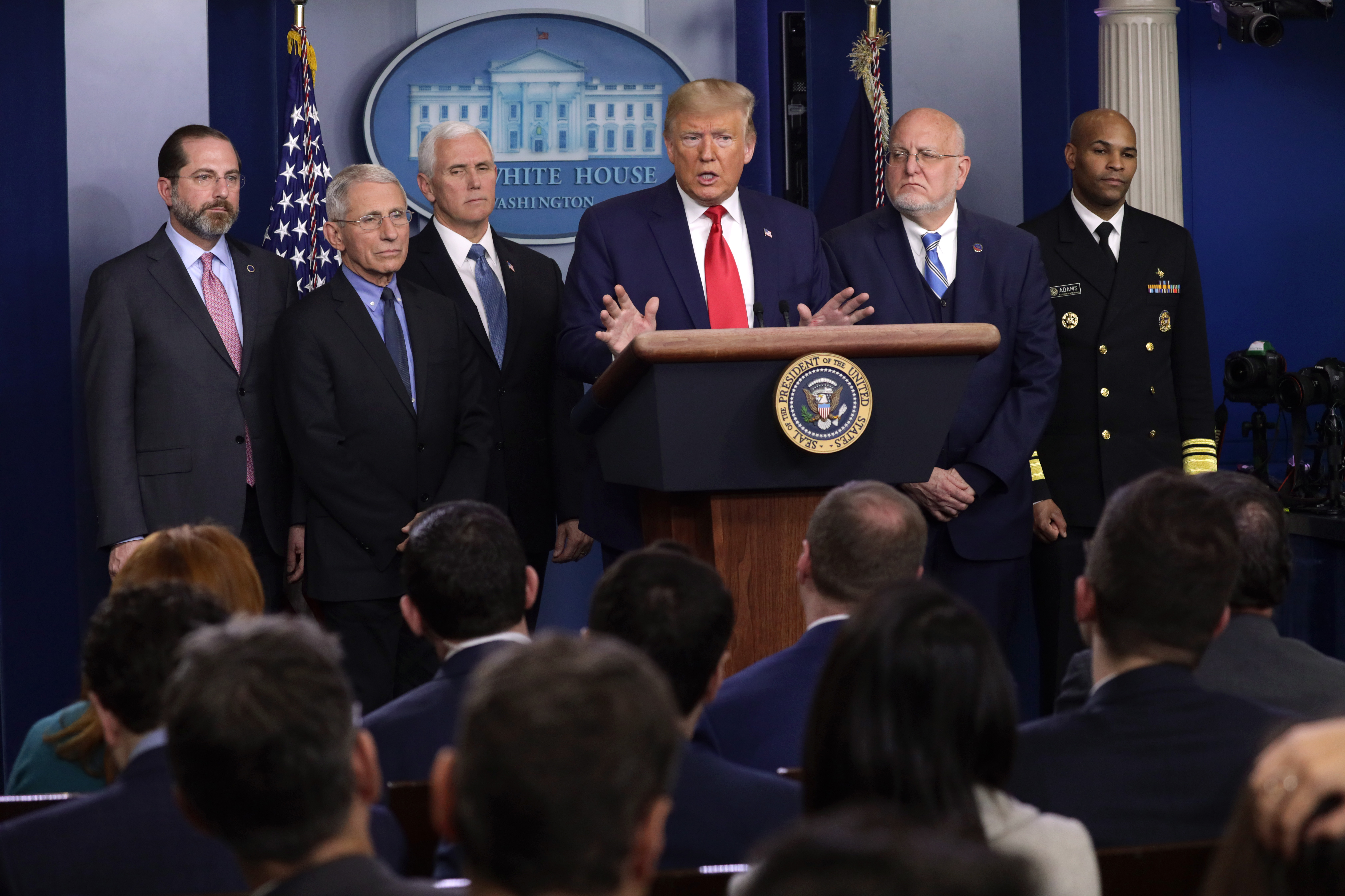 WASHINGTON, DC - FEBRUARY 29: U.S. President Donald Trump speaks as Health and Human Services Secretary Alex Azar, National Institute for Allergy and Infectious Diseases Director Anthony Fauci, Vice President Mike Pence, Centers for Disease Control and Prevention Director Robert Redfield and Surgeon General Jerome Adams look on during a news conference at the James Brady Press Briefing Room at the White House February 29, 2020 in Washington, DC. Department of Health in Washington State has reported the first death in the U.S. related to the coronavirus. (Photo by Alex Wong/Getty Images)