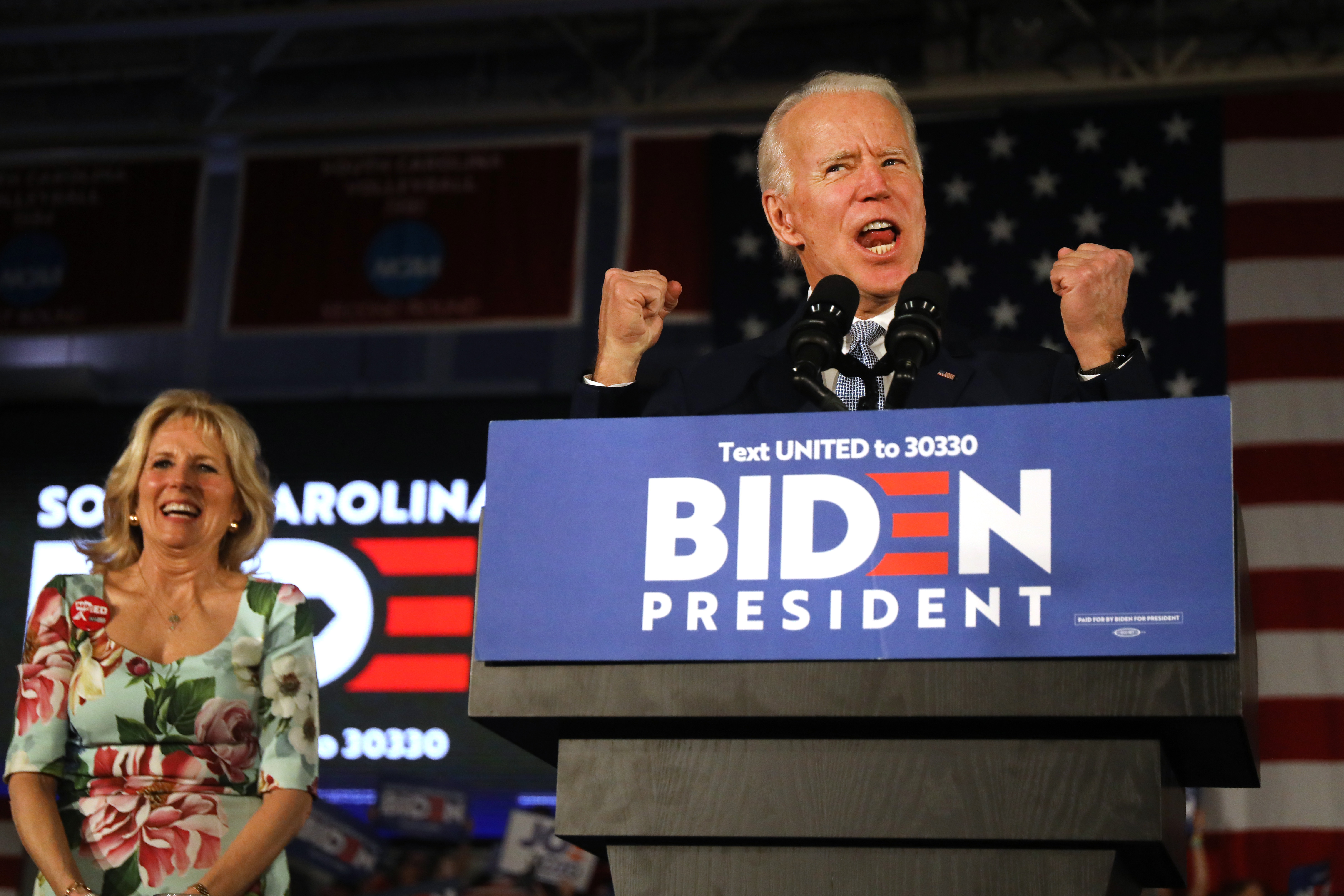 COLUMBIA, SOUTH CAROLINA - FEBRUARY 29: Democratic presidential candidate former Vice President Joe Biden reacts on stage with his wife Jill Biden after declaring victory in the South Carolina presidential primary on February 29, 2020 in Columbia, South Carolina. South Carolina is the first-in-the-south primary and the fourth state in the presidential nominating process. (Photo by Spencer Platt/Getty Images)