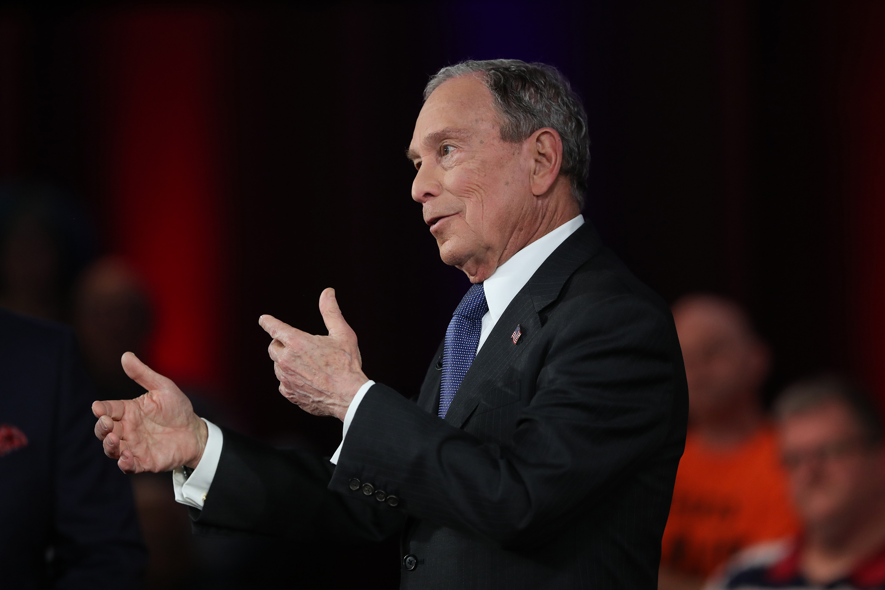 MANASSAS, VA - MARCH 02: Democratic presidential candidate, former New York City mayor Mike Bloomberg participates in a Fox News town hall held at the Hilton Performing Arts Center at George Mason on March 2, 2020 in Manassas, VA. Mr. Bloomberg appeared in the FOX News Town Hall co-moderated by Special Report's Bret Baier alongside The Story's Martha MacCallum the evening before voting starts on Super Tuesday. (Photo by Joe Raedle/Getty Images)