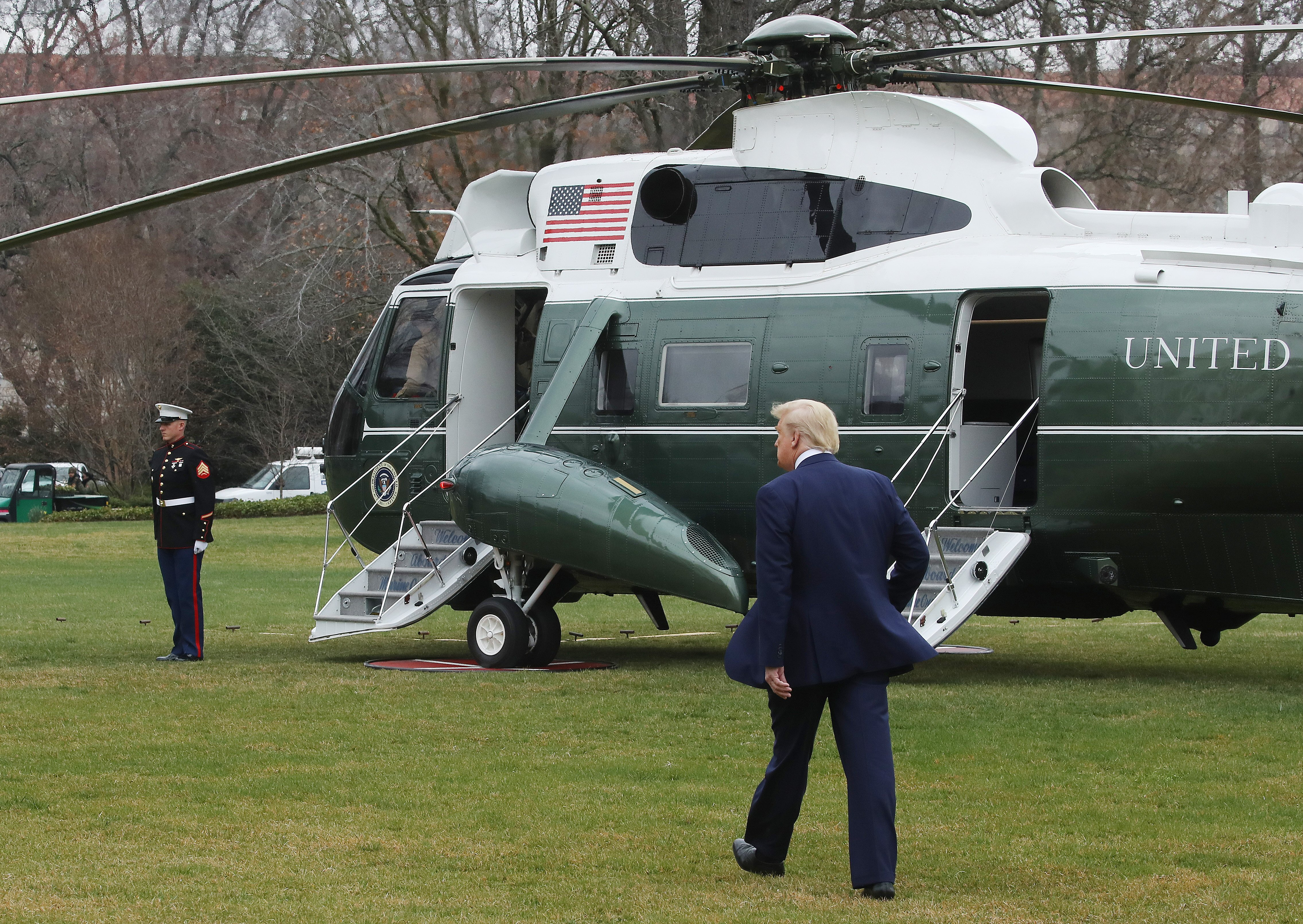 WASHINGTON, DC - MARCH 03: U.S. President Donald Trump walks toward Marine One while departing from the White House, on March 3, 2020 in Washington, DC. President Trump is traveling to visit the vaccine research center at the National Institutes of Health to receive a briefing on the novel coronavirus. (Photo by Mark Wilson/Getty Images)