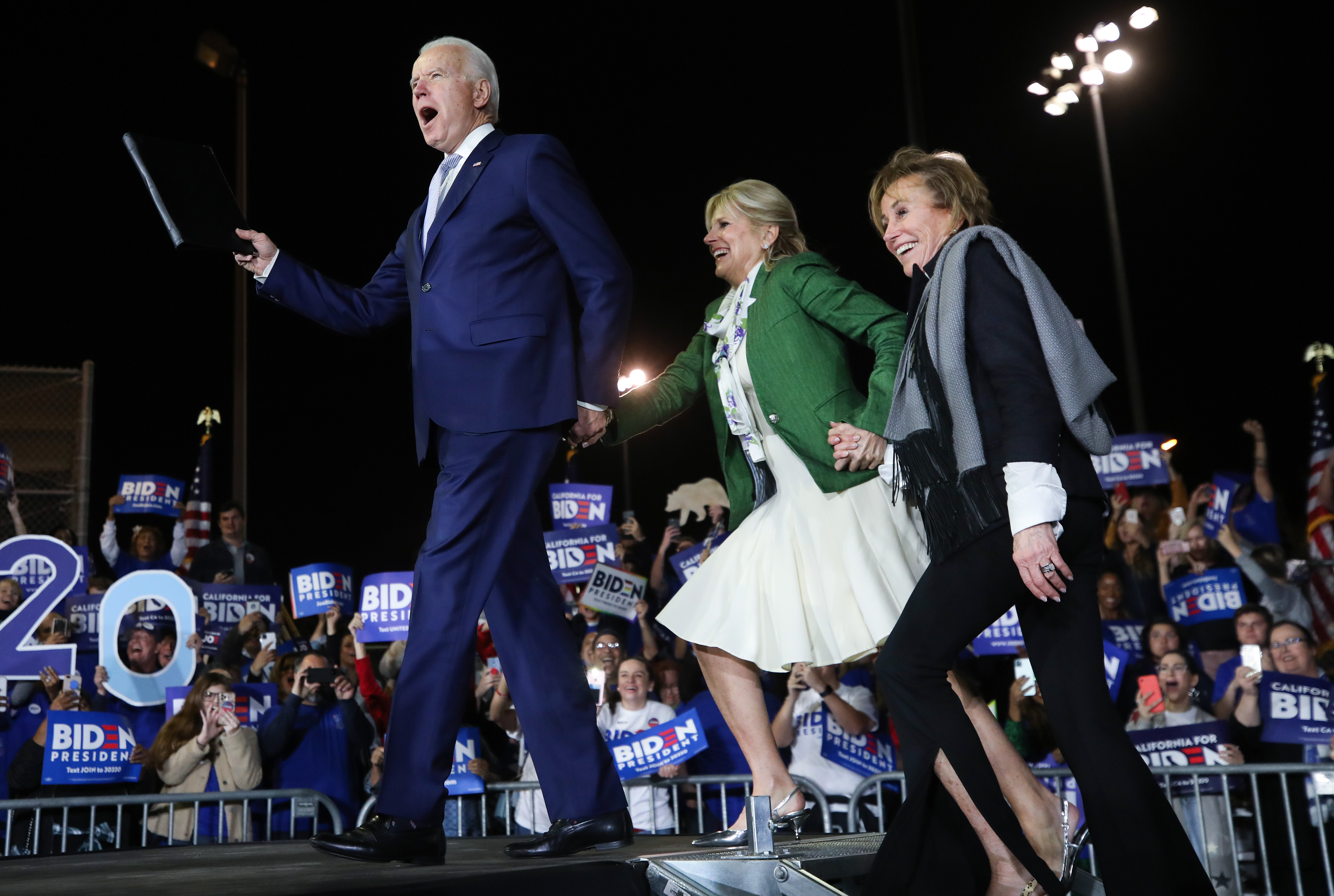 LOS ANGELES, CALIFORNIA - MARCH 03: Democratic presidential candidate former Vice President Joe Biden arrives with wife Jill (C) and sister Valerie at a Super Tuesday campaign event at Baldwin Hills Recreation Center on March 3, 2020 in Los Angeles, California. After his make-or-break victory in South Carolina, Biden has continued to do well in the Super Tuesday primaries. (Photo by Mario Tama/Getty Images)