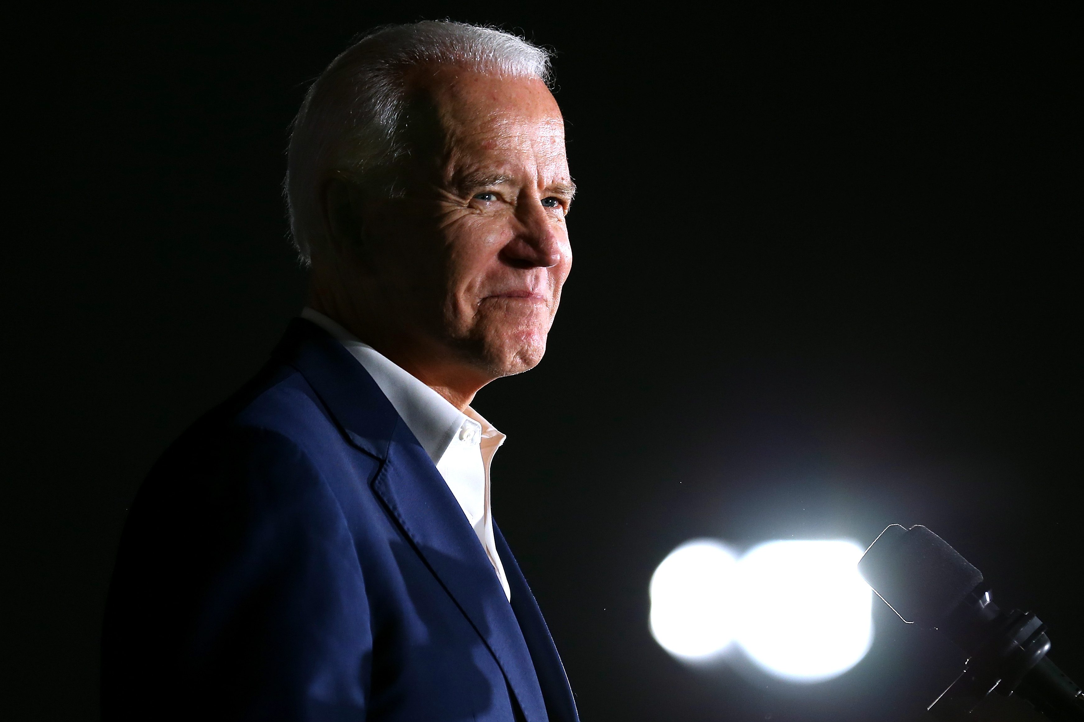 TOUGALOO, MISSISSIPPI - MARCH 08: Democratic presidential candidate former Vice President Joe Biden reacts while giving a speech during a campaign event at Tougaloo College on March 08, 2020 in Tougaloo, Mississippi. Mississippi's Democratic primary will be held this Tuesday. (Photo by Jonathan Bachman/Getty Images)