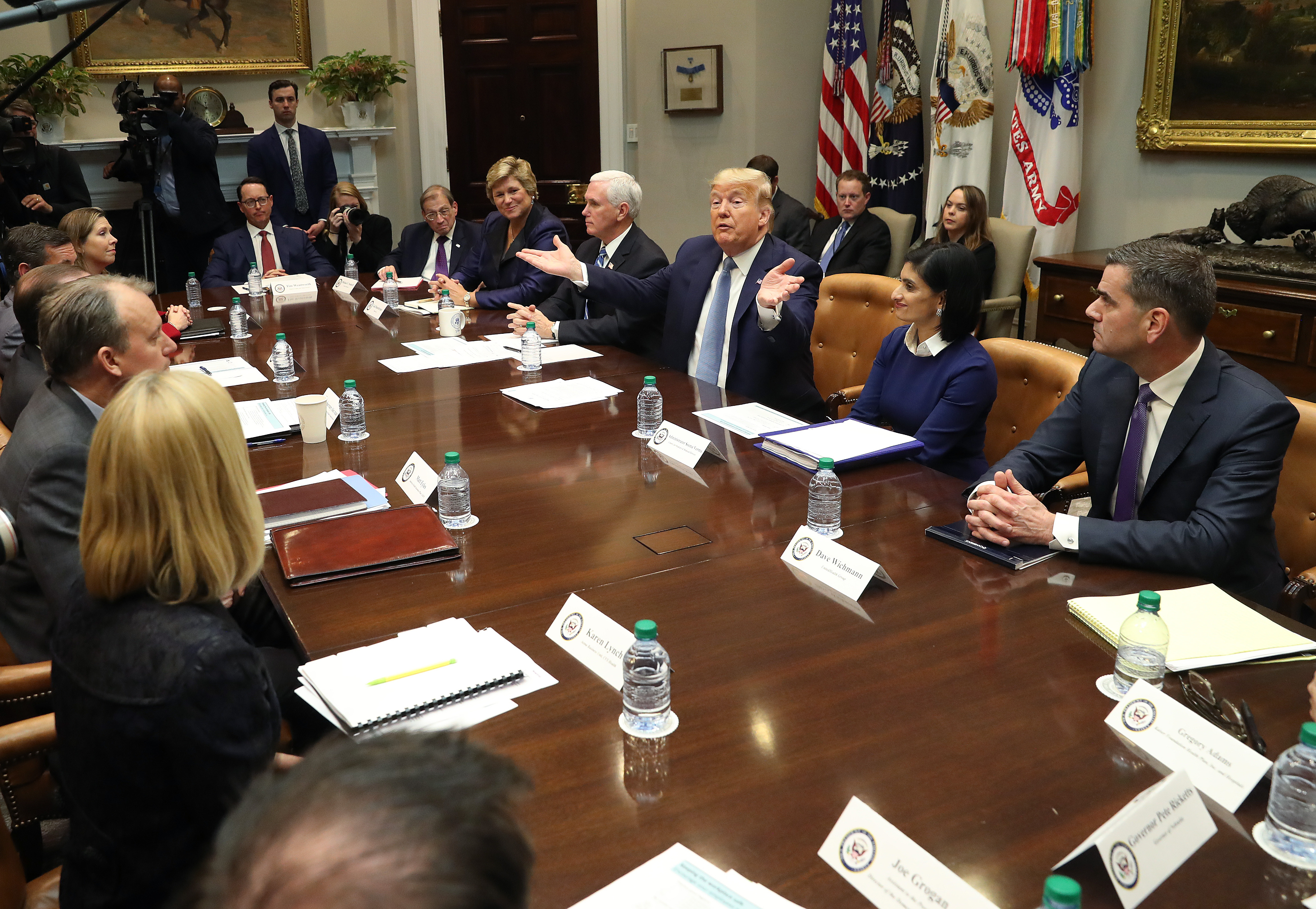 WASHINGTON, DC - MARCH 10: U.S. President Donald Trump and Vice President Mike Pence participate in a coronavirus briefing with health insurers in the Roosevelt Room at the White House, on March 10, 2020 in Washington, DC. (Photo by Mark Wilson/Getty Images)