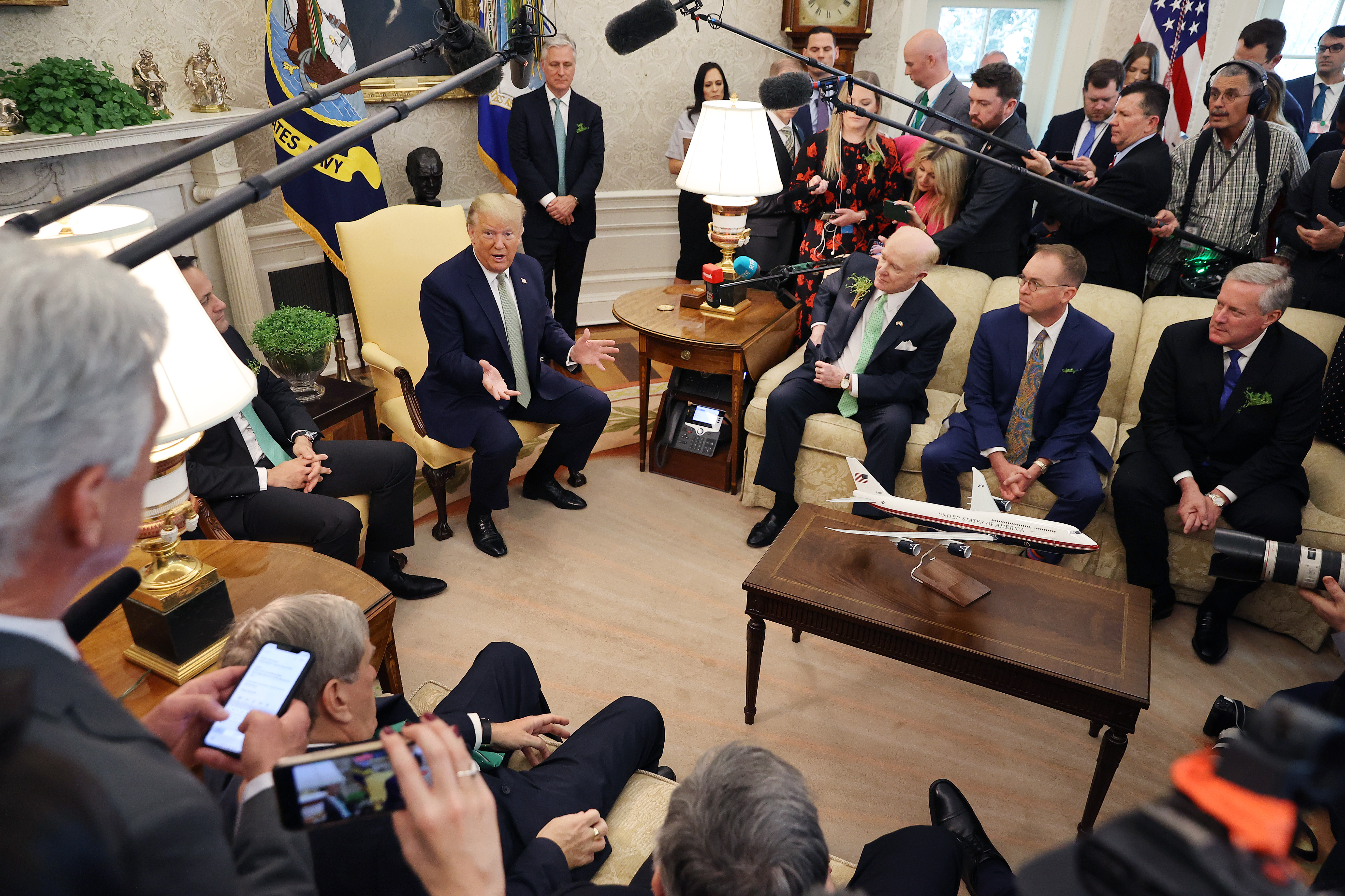 WASHINGTON, DC - MARCH 12: U.S. President Donald Trump and Prime Minister of Ireland Leo Varadkar talk to journalists before their meeting in the Oval Office at the White House March 12, 2020 in Washington, DC. Taoiseach Varadkar is in Washington for the annual celebration of St. Patrick's Day and to participate in the traditional Shamrock Bowl presentation. (Photo by Chip Somodevilla/Getty Images)