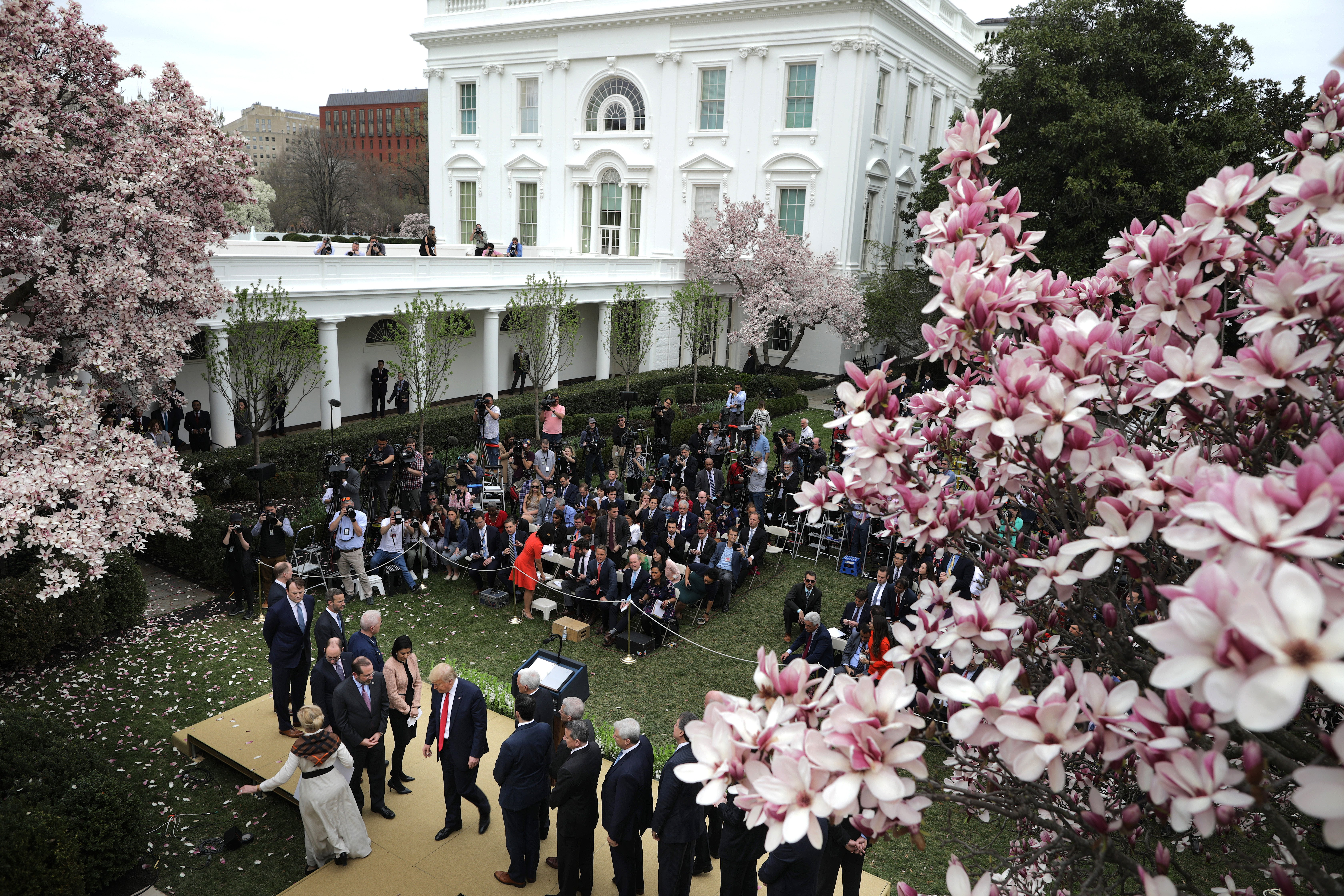 WASHINGTON, DC - MARCH 13: U.S. President Donald Trump leaves the Rose Garden after announcing a national emergency during news conference with members of his coronavirus task force and leaders from the healthcare industry about the ongoing global coronavirus pandemic at the White House March 13, 2020 in Washington, DC. Trump is facing a national health emergency as COVID-19 cases continue to rise and 30 people have died from the virus in the United States, according to The Center for Systems Science and Engineering at Johns Hopkins University. (Photo by Chip Somodevilla/Getty Images)