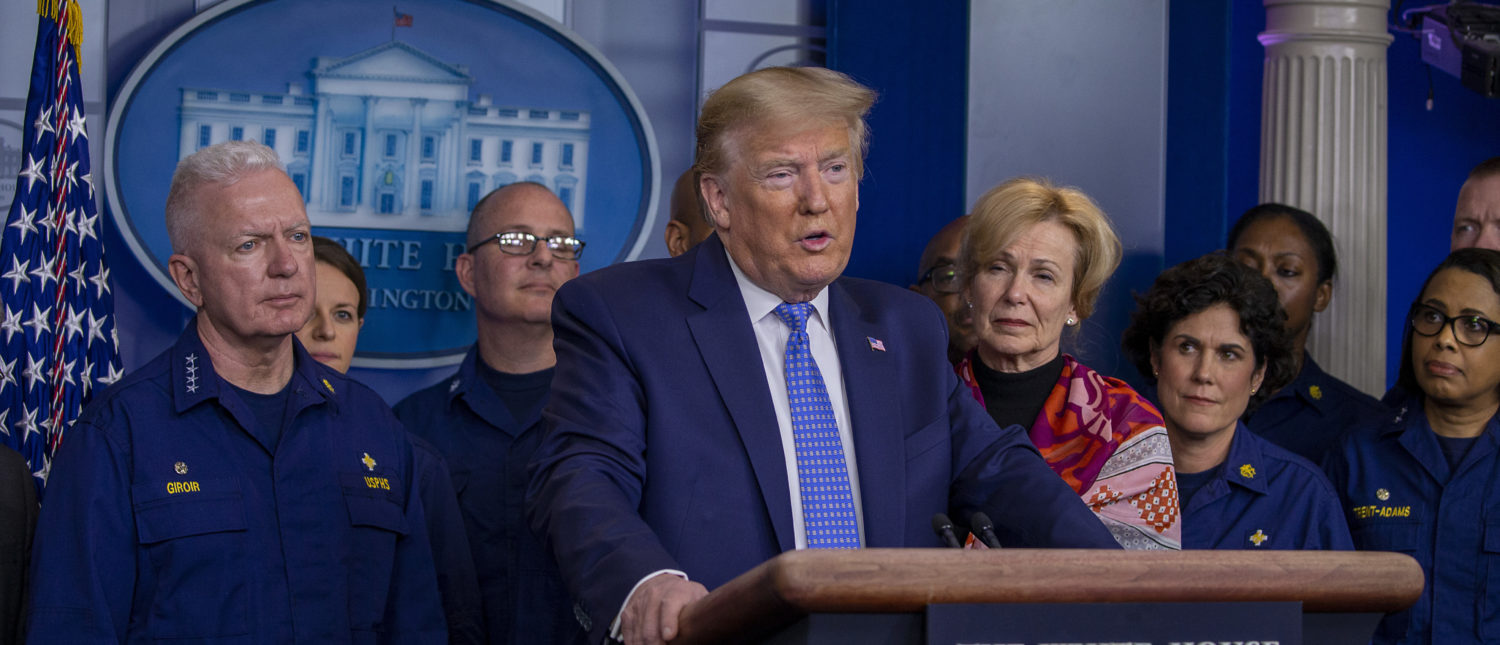 WASHINGTON, DC - MARCH 15: U.S. President Donald Trump speaks to the media in the press briefing room at the White House on March 15, 2020 in Washington, DC. The United States has surpassed 3,000 confirmed cases of the coronavirus, and the death toll climbed to at least 61, with 25 of the deaths associated with the Life Care Center in Kirkland, Washington. (Photo by Tasos Katopodis/Getty Images)