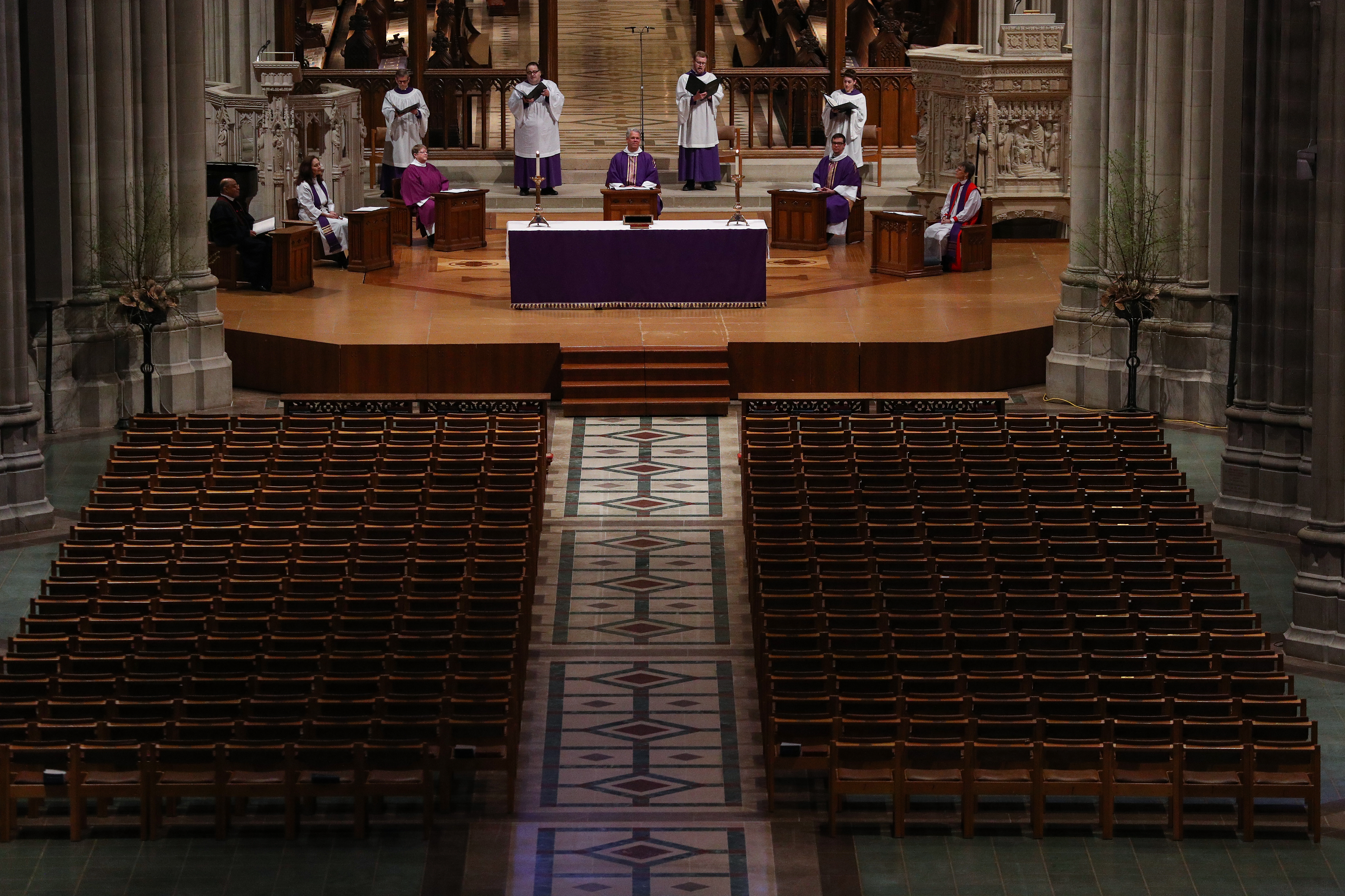 WASHINGTON, DC - MARCH 22: The Very Rev. Dean Randy Hollerith holds Sunday Mass as it is live-webcast to its parishioners due to the Coronavirus at an empty Washington National Cathedral on March 22, 2020 in Washington, DC. (Photo by Patrick Smith/Getty Images)