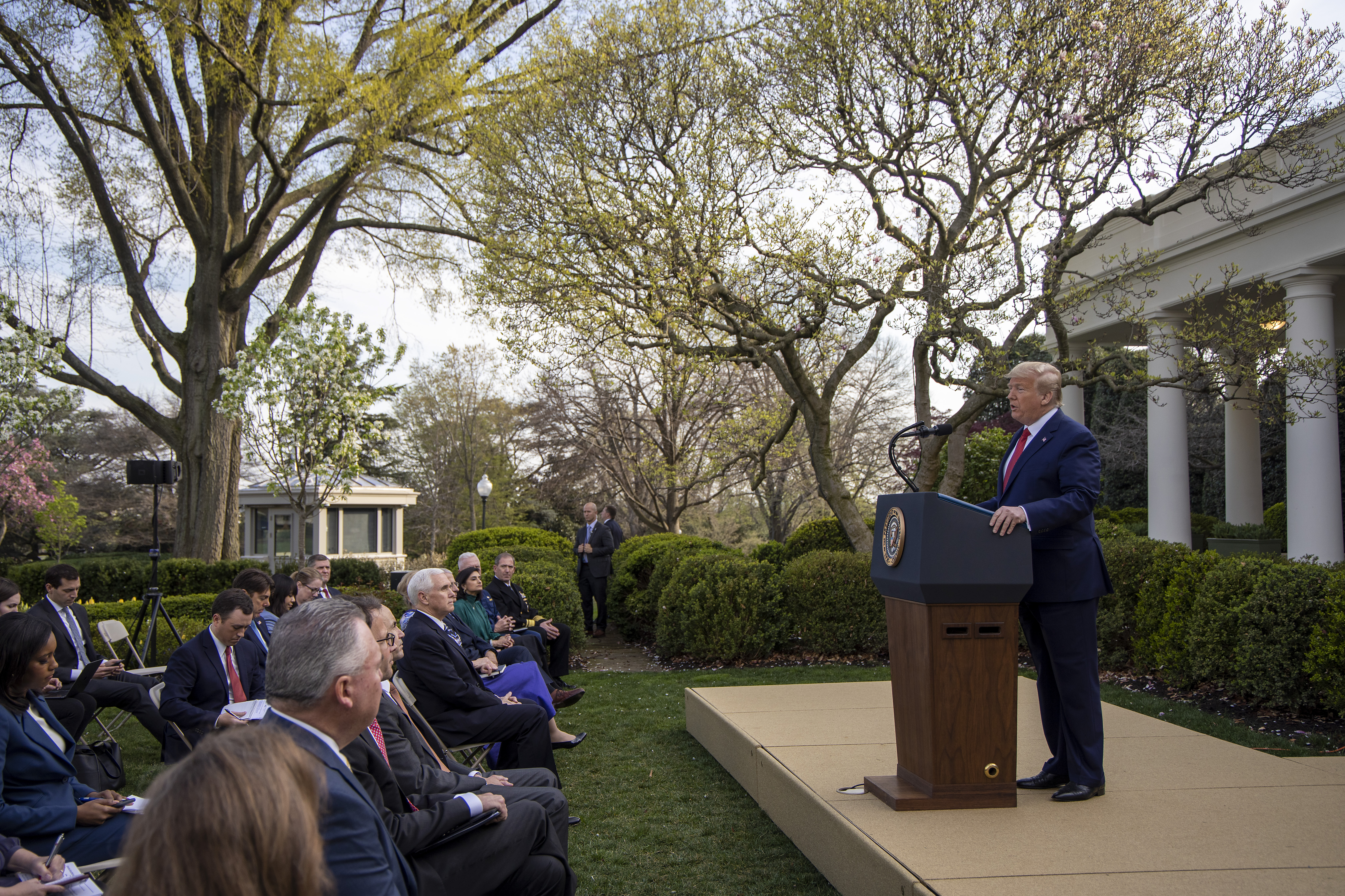 WASHINGTON, DC - MARCH 29: U.S. President Donald Trump speaks in the Rose Garden for the daily coronavirus briefing at the White House on March 29, 2020 in Washington, DC. The United States is advisingresidents of New York, New Jersey and Connecticutnot to travel domestically after the number of reportedcoronavirus(COVID-19) deaths doubled to over 2,000 nationwidewithin two days. (Photo by Tasos Katopodis/Getty Images)