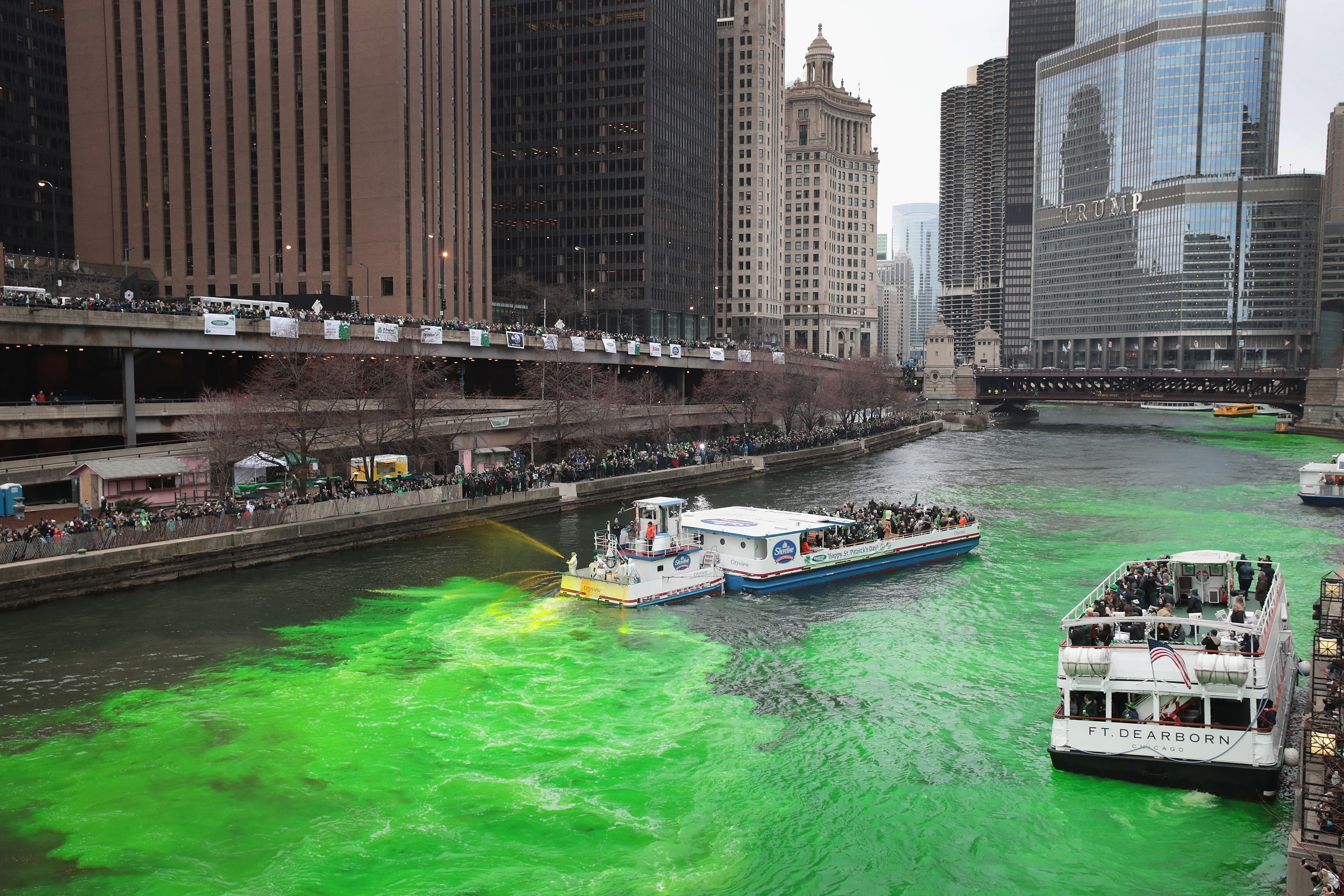 CHICAGO, IL - MARCH 17: Members of the local plumber's union dye the Chicago River green in celebration of St. Patrick's Day (Photo by Scott Olson/Getty Images)