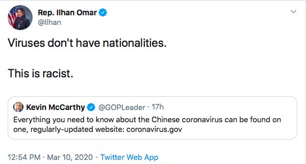 Ilhan Omar tweet. (3/10/2020)