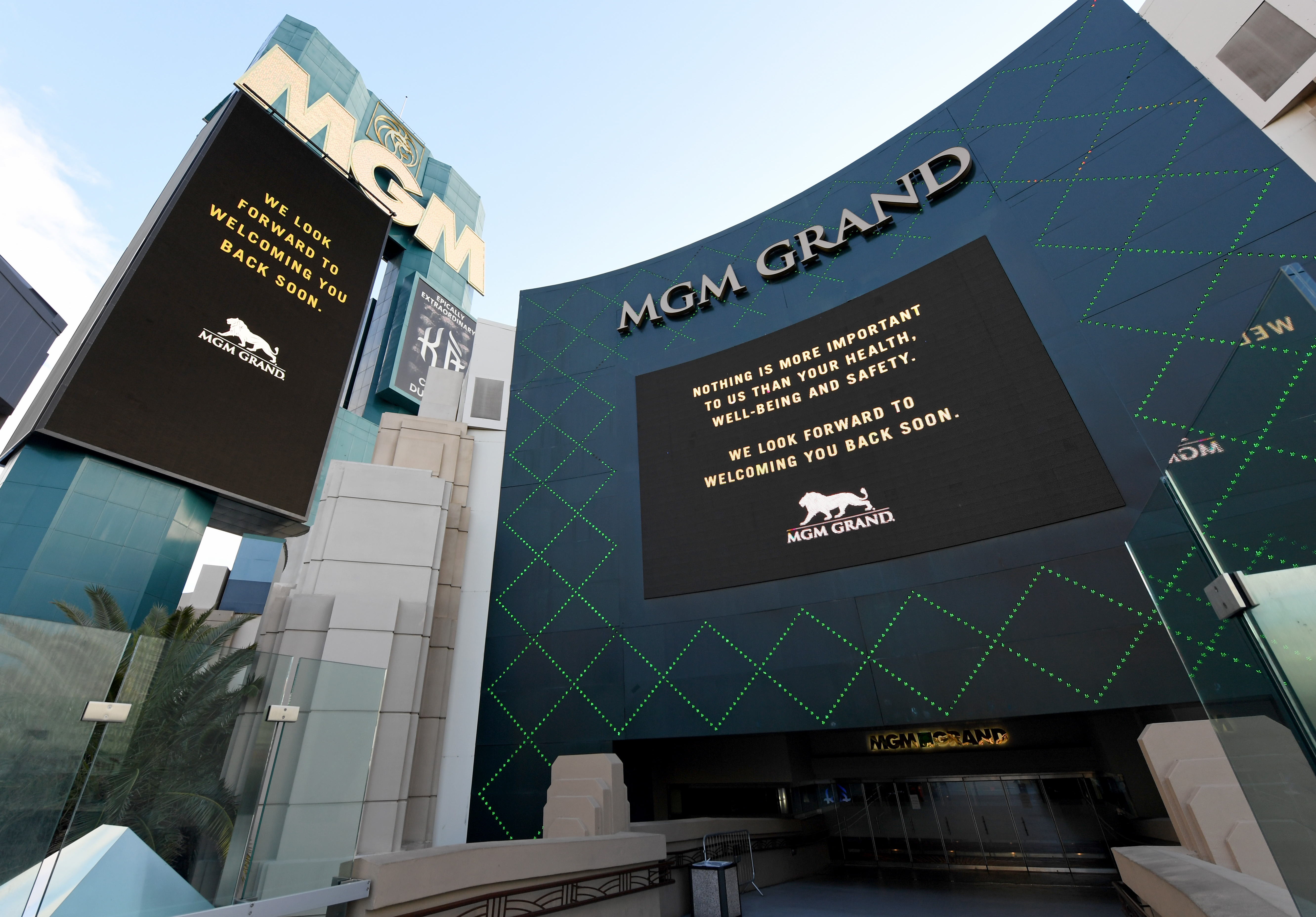 LAS VEGAS, NEVADA - MARCH 17: The marquee and sign at an entrance at MGM Grand & Hotel & Casino display messages after the Las Vegas Strip resort was closed as the coronavirus continues to spread across the United States on March 17, 2020 in Las Vegas, Nevada. MGM Resorts International suspended operations at all of its Las Vegas properties until further notice to combat the spread of the virus. The World Health Organization declared the coronavirus (COVID-19) a global pandemic on March 11th. (Photo by Ethan Miller/Getty Images)