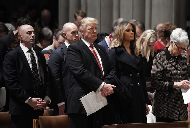 US President Donald Trump and the First Lady Melania Trump attend the Christmas Eve service at the National Cathedral in Washington, D.C on December 24, 2018.Photo by Olivier Douliery/ Abaca Press/ Getty Images)