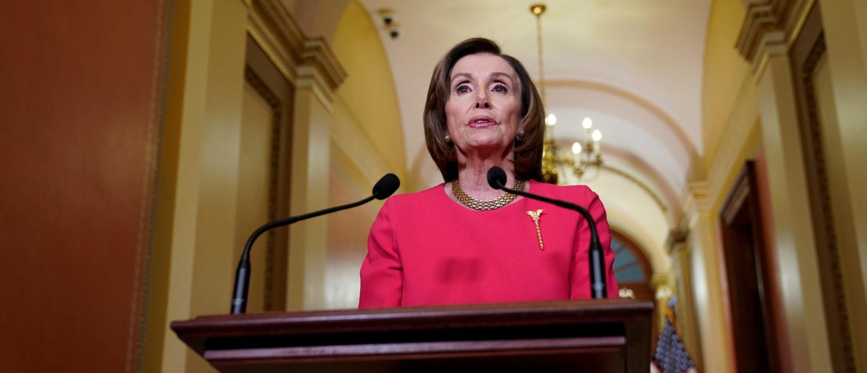 U.S. House Speaker Nancy Pelosi makes statement about coronavirus economic relief on Capitol Hill in Washington