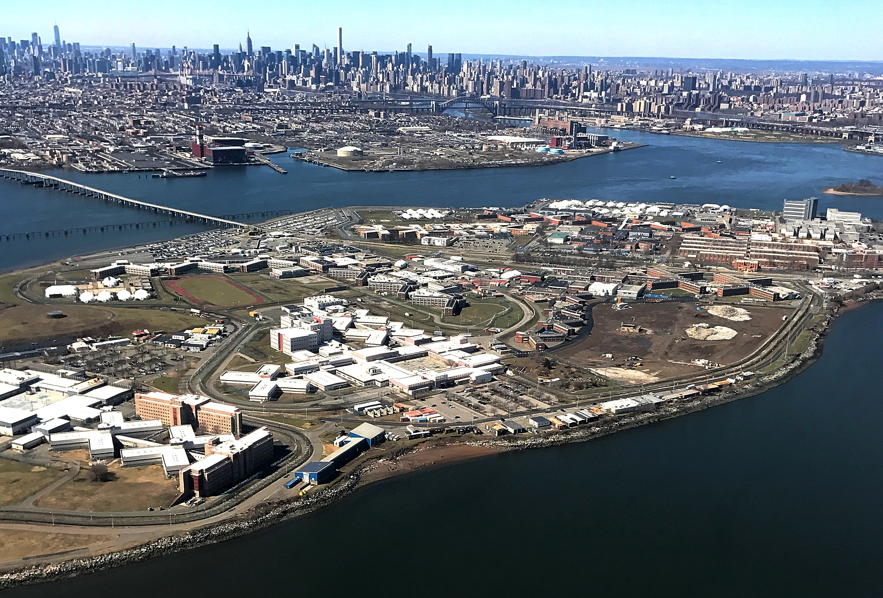 The Rikers Island Prison complex is seen from an airplane in the Queens borough of New York City, New York