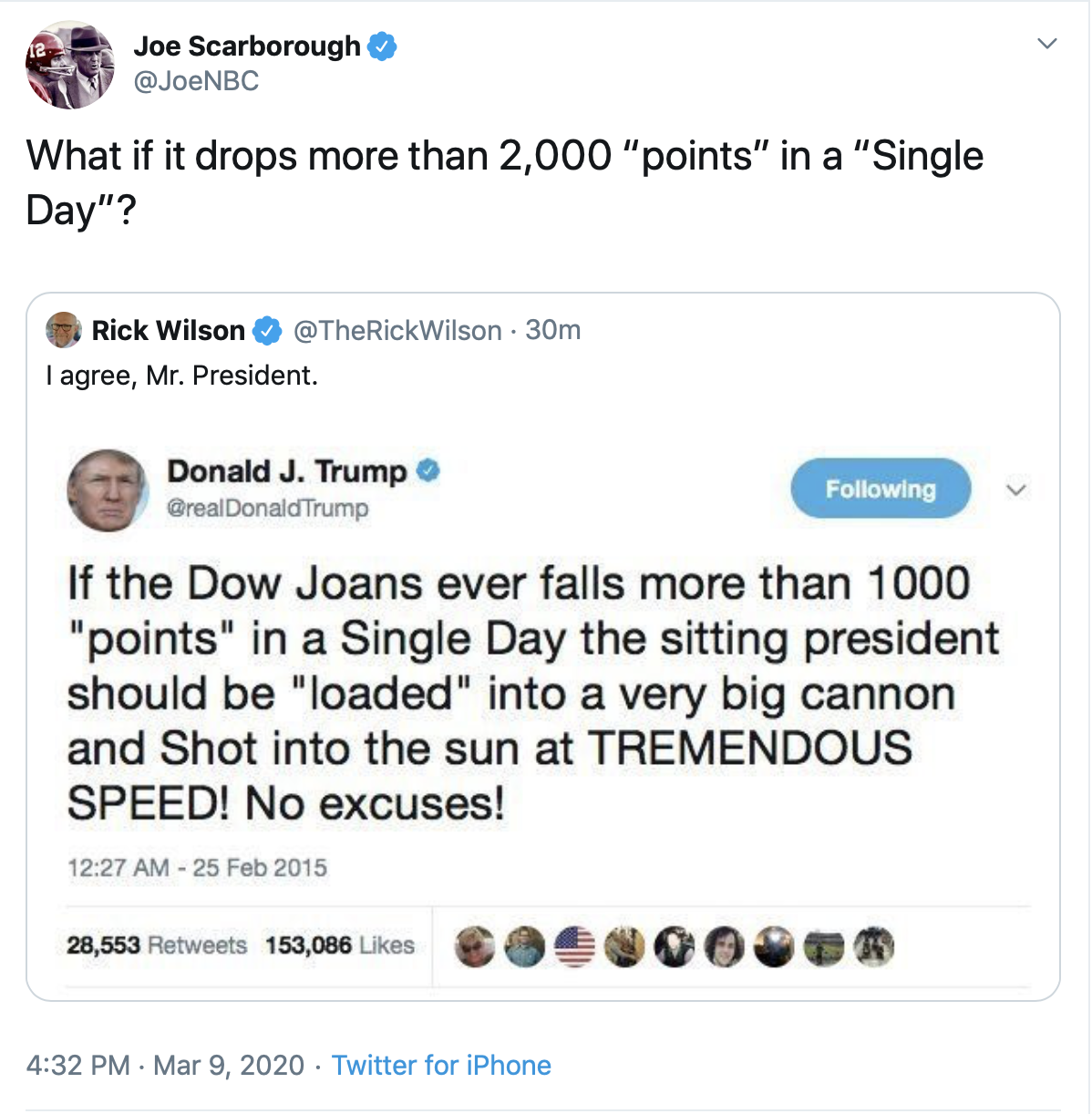 Joe Scarborough and Rick Wilson fell for an old, debunked fake Trump tweet as the Dow Jones took a hit Monday due to coronavirus fears. (Screenshot Twitter Joe Scarborough)